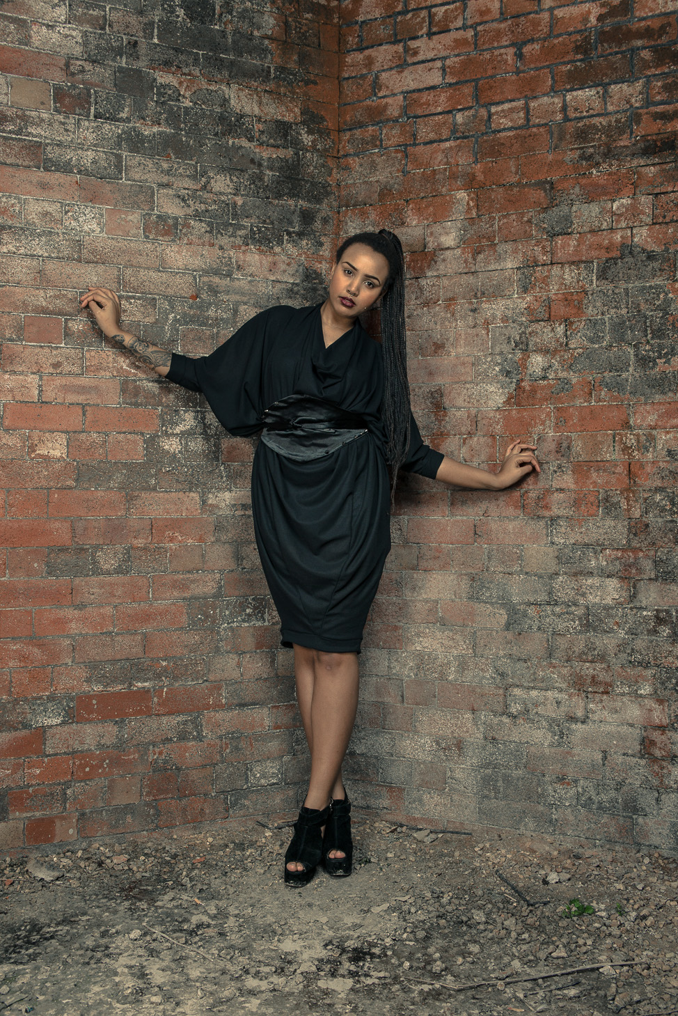 zaramia-ava-zaramiaava-leeds-fashion-designer-ethical-sustainable-tailored-minimalist-aya-dress-versatile-drape-black-belt-wrap-cowl-styling-womenswear-models-photoshoot-location-15