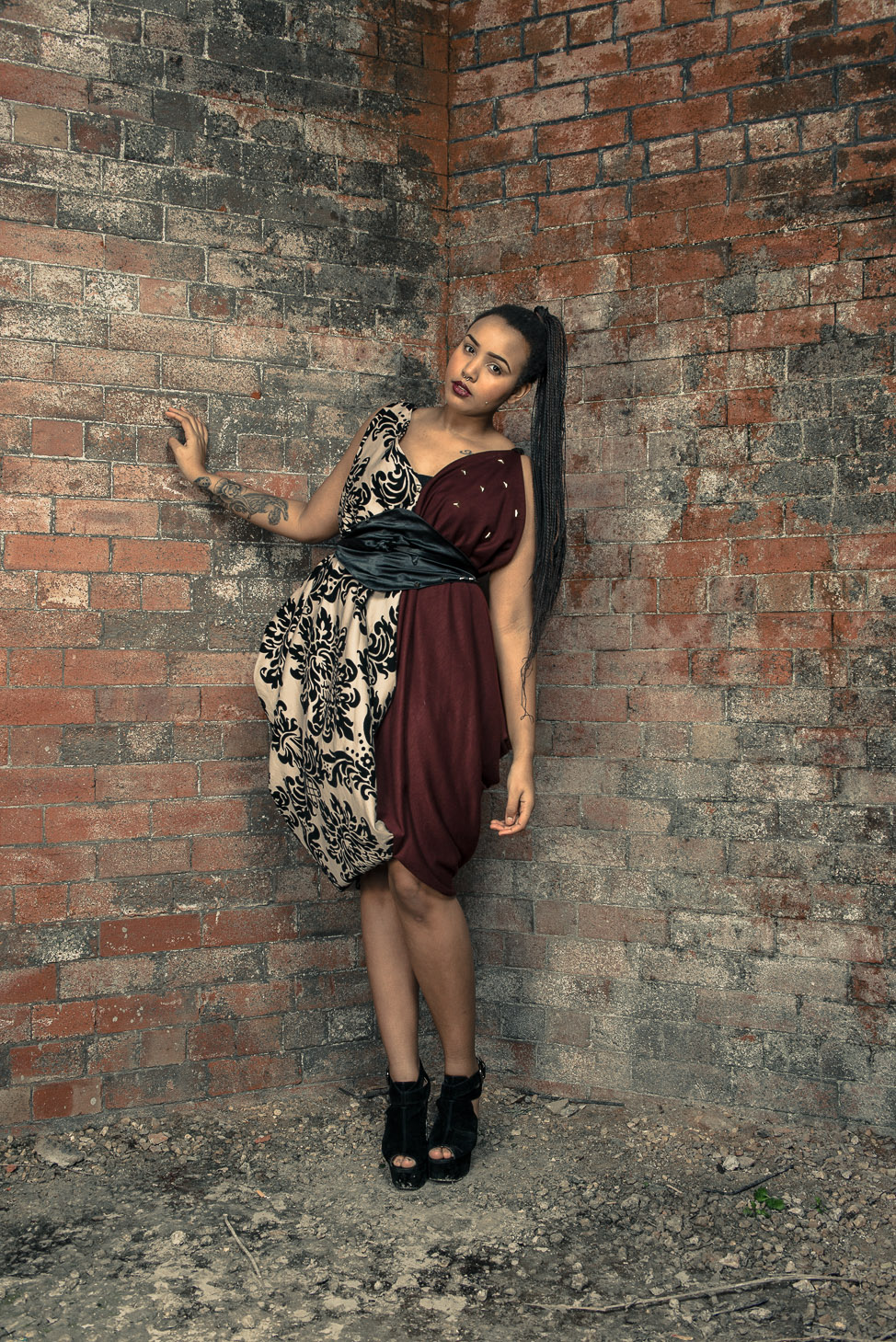 zaramia-ava-zaramiaava-leeds-fashion-designer-ethical-sustainable-tailored-minimalist-burgundy-versatile-drape-dress-damask-studding-belt-wrap-cowl-styling-bodysuit-womenswear-models-photoshoot-8