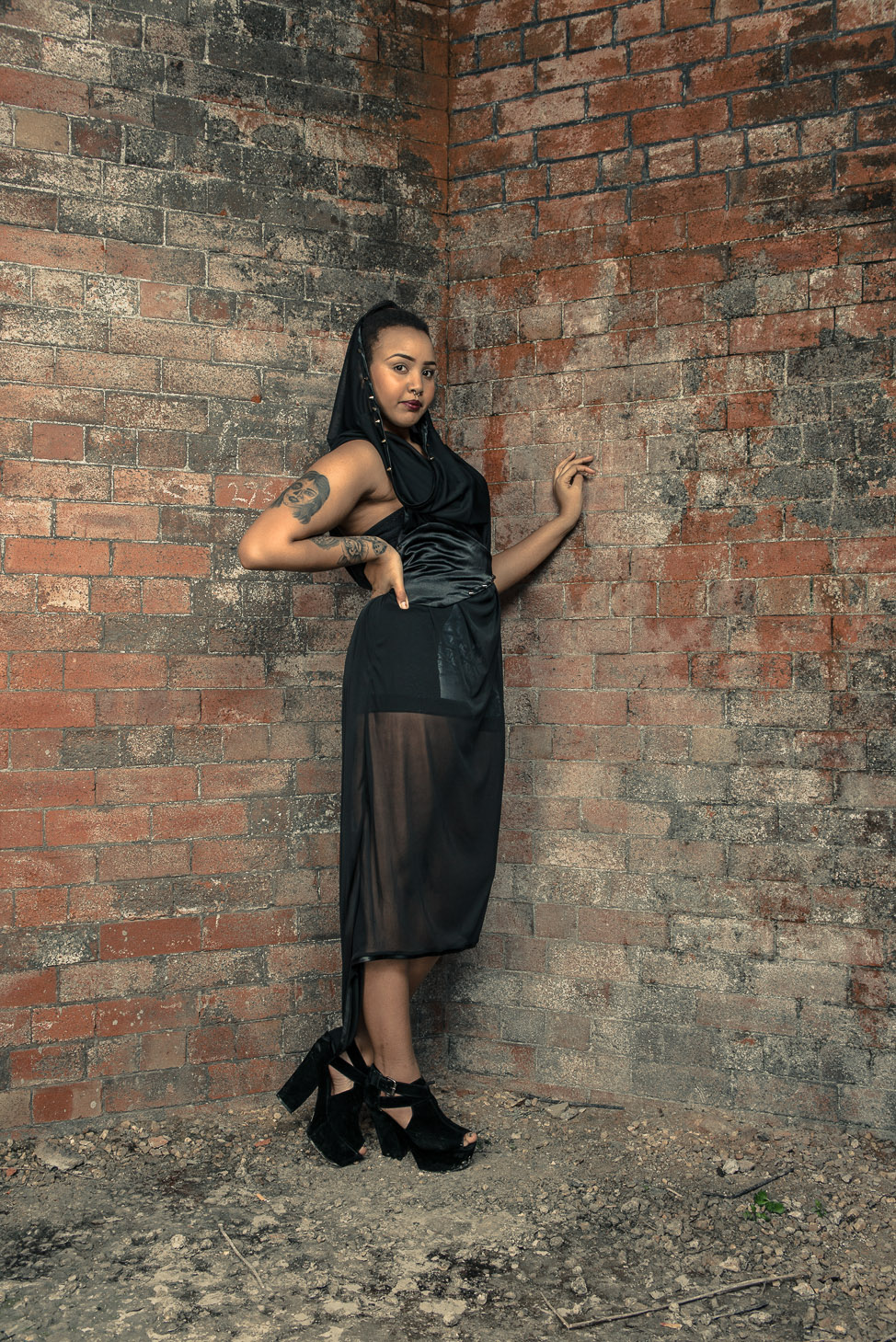 zaramia-ava-zaramiaava-leeds-fashion-designer-ethical-sustainable-tailored-minimalist-sheer-versatile-drape-dress-black-hood-binding-belt-wrap-cowl-styling-bodysuit-womenswear-models-photoshoot-7