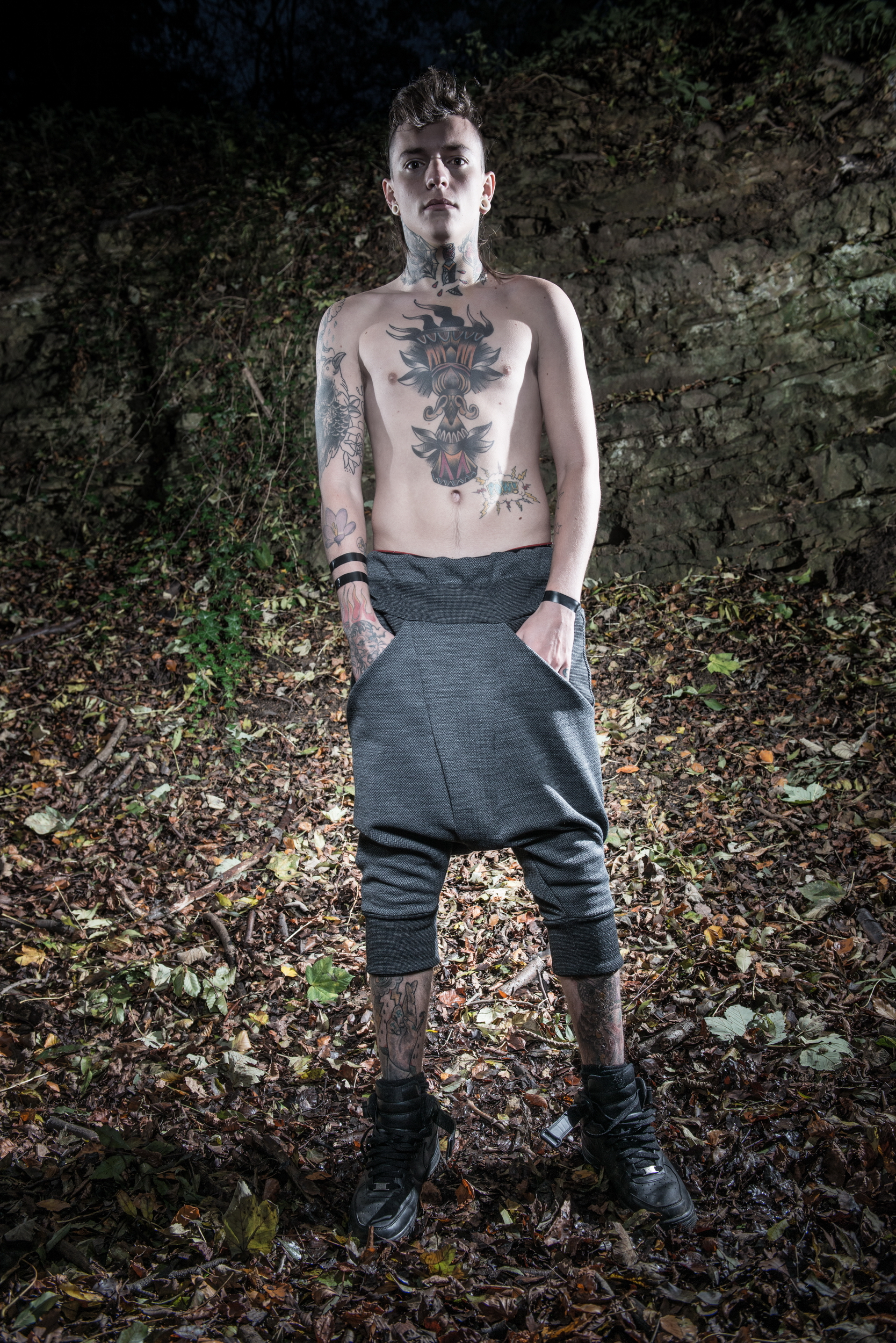 zaramia-ava-zaramiaava-leeds-fashion-designer-ethical-sustainable-tailored-minimalist-versatile-drape-grey-shirt-vest-top-denim-trousers-black-grey-texture-styling-menswear-model-photoshoot-location-8