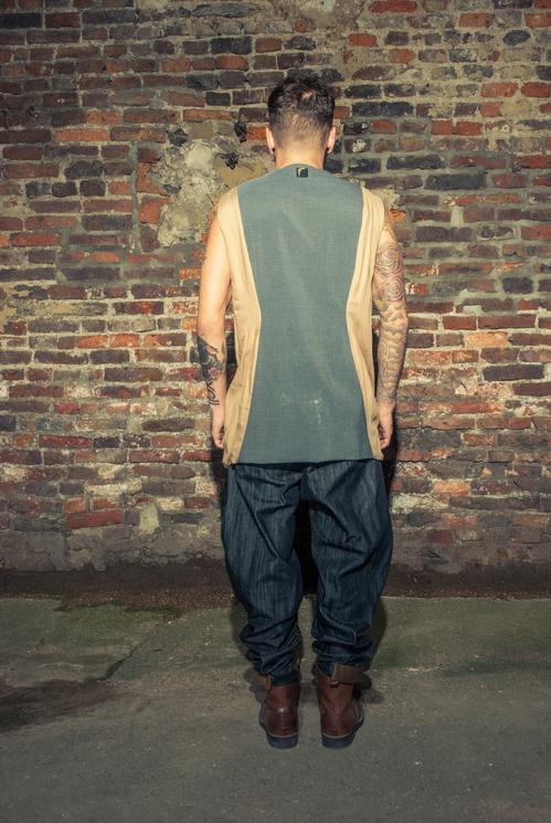 zaramia-ava-zaramiaava-leeds-fashion-designer-ethical-sustainable-tailored-minimalist-versatile-drape-grey-taupe-shirt-hareem-trousers-denim-brown-trousers-styling-menswear-model-photoshoot-17