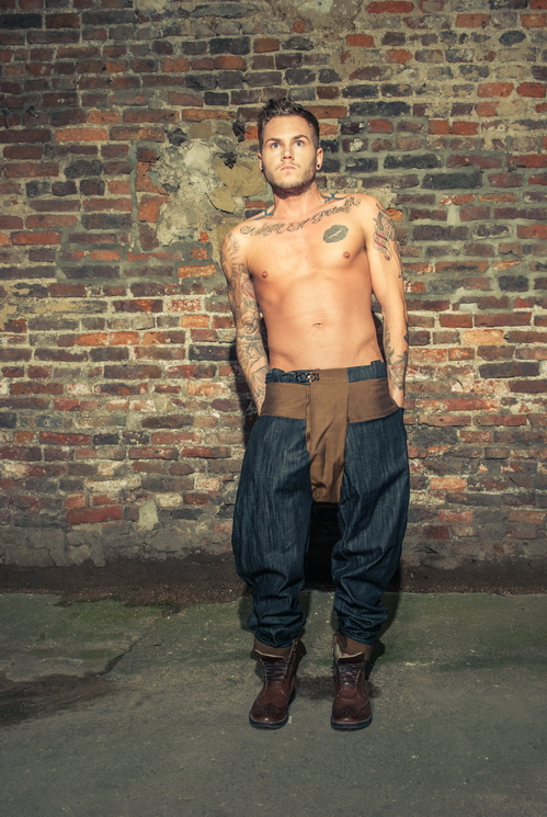 zaramia-ava-zaramiaava-leeds-fashion-designer-ethical-sustainable-tailored-minimalist-versatile-drape-grey-taupe-shirt-hareem-trousers-denim-brown-trousers-styling-menswear-model-photoshoot-19