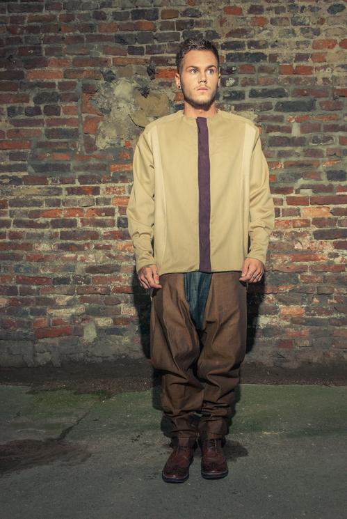 zaramia-ava-zaramiaava-leeds-fashion-designer-ethical-sustainable-tailored-minimalist-versatile-drape-taupe-black-shirt-collarless-top-denim-trousers-brown-styling-menswear-model-photoshoot--6