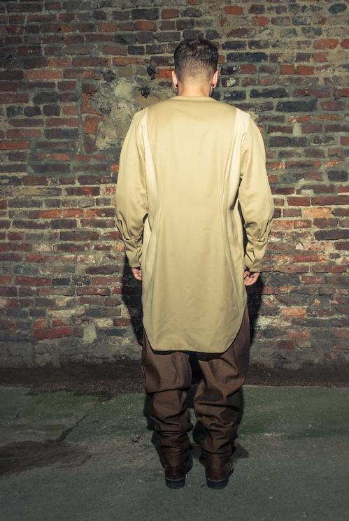 zaramia-ava-zaramiaava-leeds-fashion-designer-ethical-sustainable-tailored-minimalist-versatile-drape-taupe-black-tshirt-top-denim-trousers-brown-styling-menswear-model-photoshoot--7