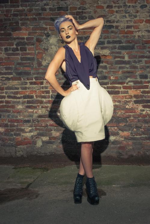 zaramia-ava-zaramiaava-leeds-fashion-designer-ethical-sustainable-tailored-minimalist-versatile-drape-purple-taupe-padding-shirt-top-skirt-styling-womenswear-model-photoshoot-3