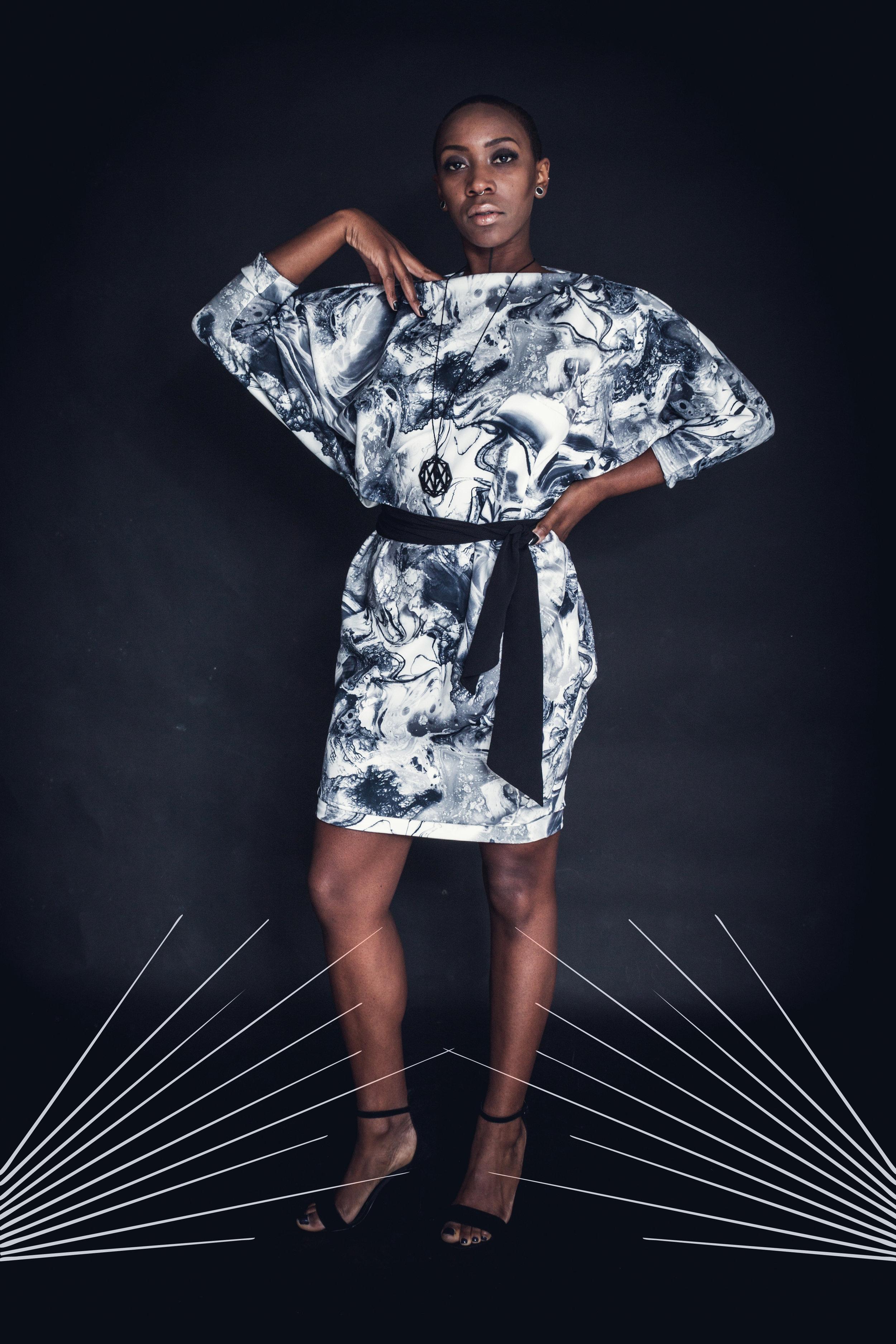 zaramia-ava-zaramiaava-leeds-fashion-designer-leedsfashiondesigner-stylist-leeds-stylist-leedsstylist-ethical-sustainable-minimalist-versatile-drape-Ayaka-marble-print-dress-black-belt-1.jpg