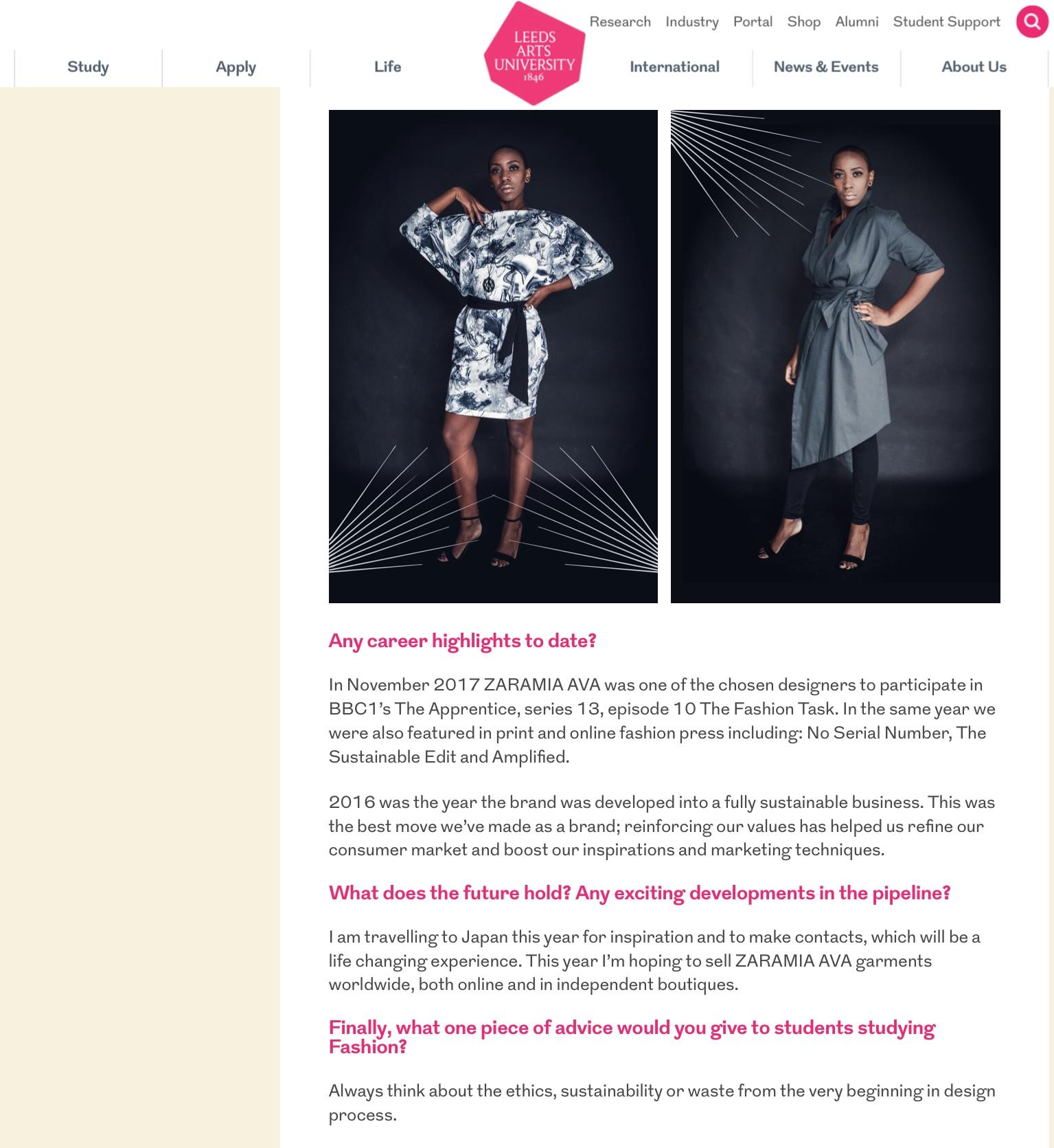Zaramia Ava Featured On The Leeds Arts University Alumni Zaramia Ava Leeds Ethical Fashion Designer Sustainable Stylist