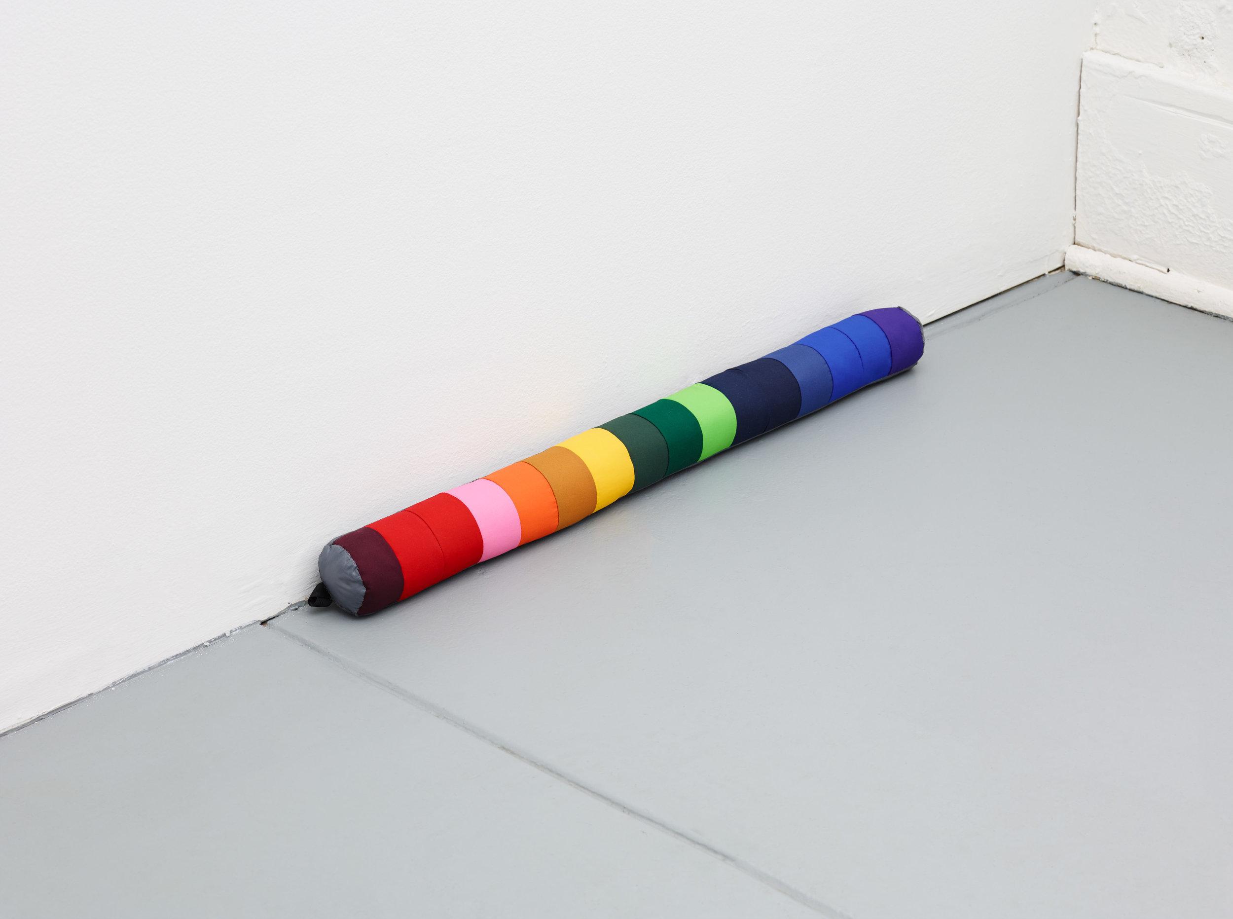 Untitled (Rainbow) , 2018. Ultrex, Momentum 50MR, Primaloft Sport, grosgrain, thread. 2 x 23 inches.