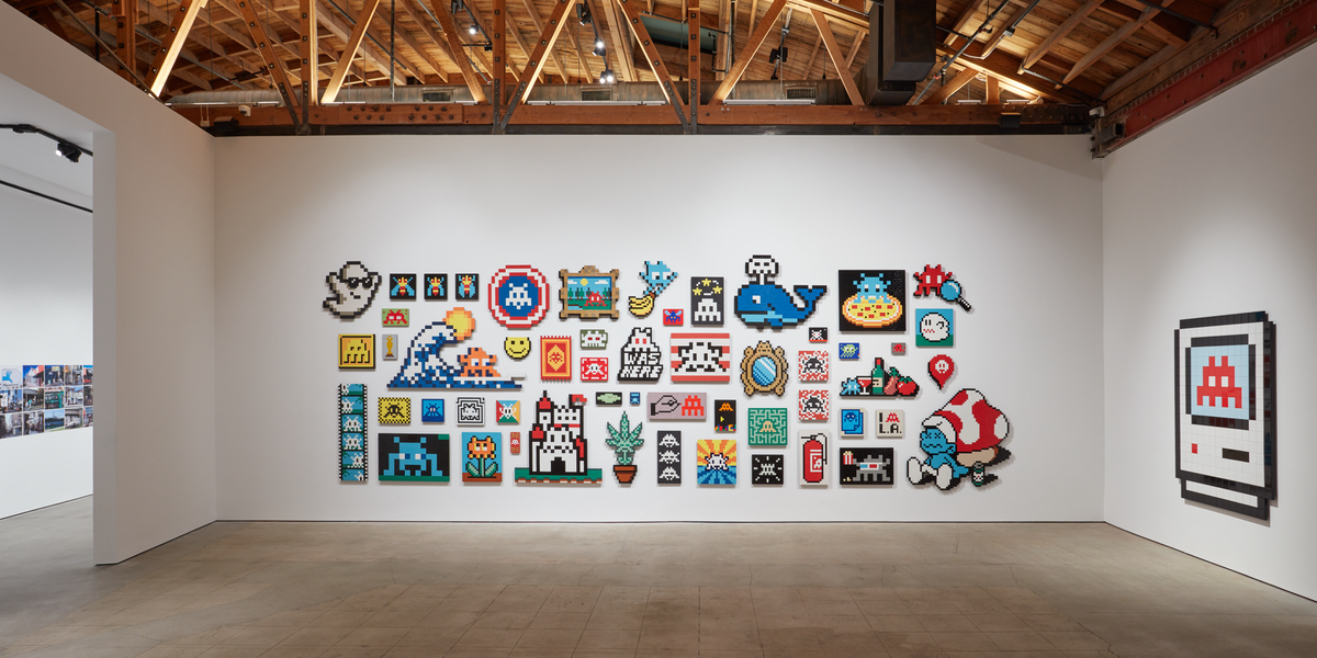 Invader: Into The White Cube, art exhibit @ Over The Influence // photo source: overtheinfluence.com