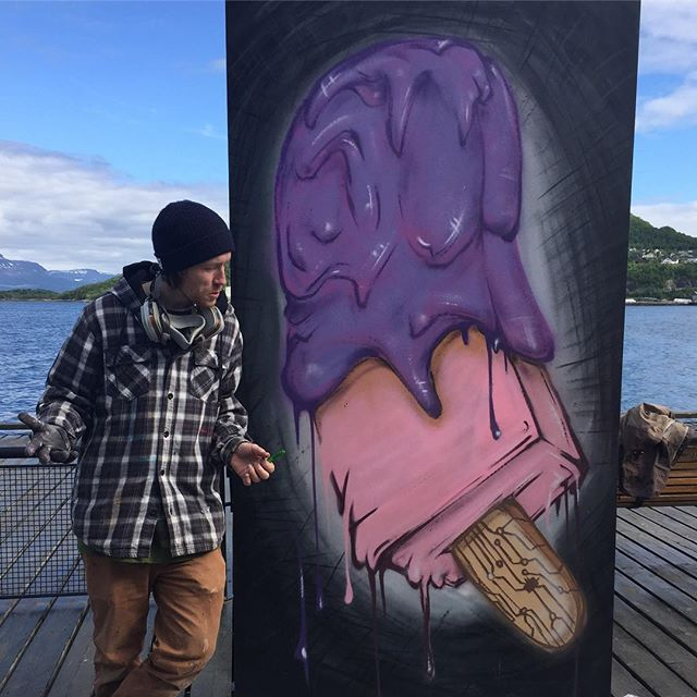 "Interesting afternoon watching street art being created in Harstad, Norway. Petter Bratland used the colors of Statoil, one of the world's largest oil companies, in this image of a melting ice cream. Yesterday, Norway opened up 102 new blocks for oil exploration in the northern seas. ""They have responsibility for the Arctic,"" Bratland says, ""but they're ignoring everything."" . . . #norway #arctic #streetart #arcticartssummit #arcticartsfestival @rampestrek_ @finanskriise @baidakovsky"
