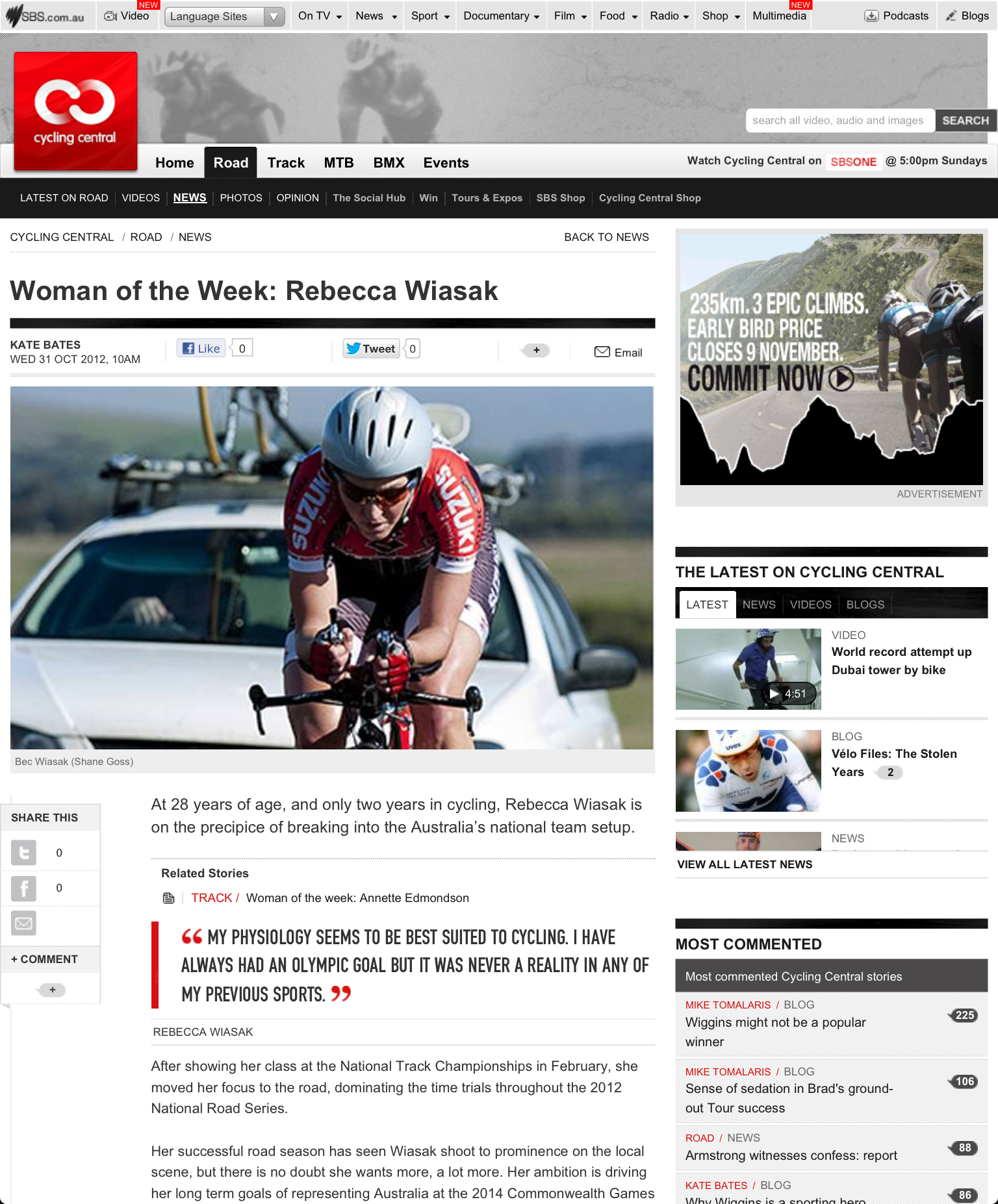 Woman of the Week profile: SBS Cycling Central   31 October 2012