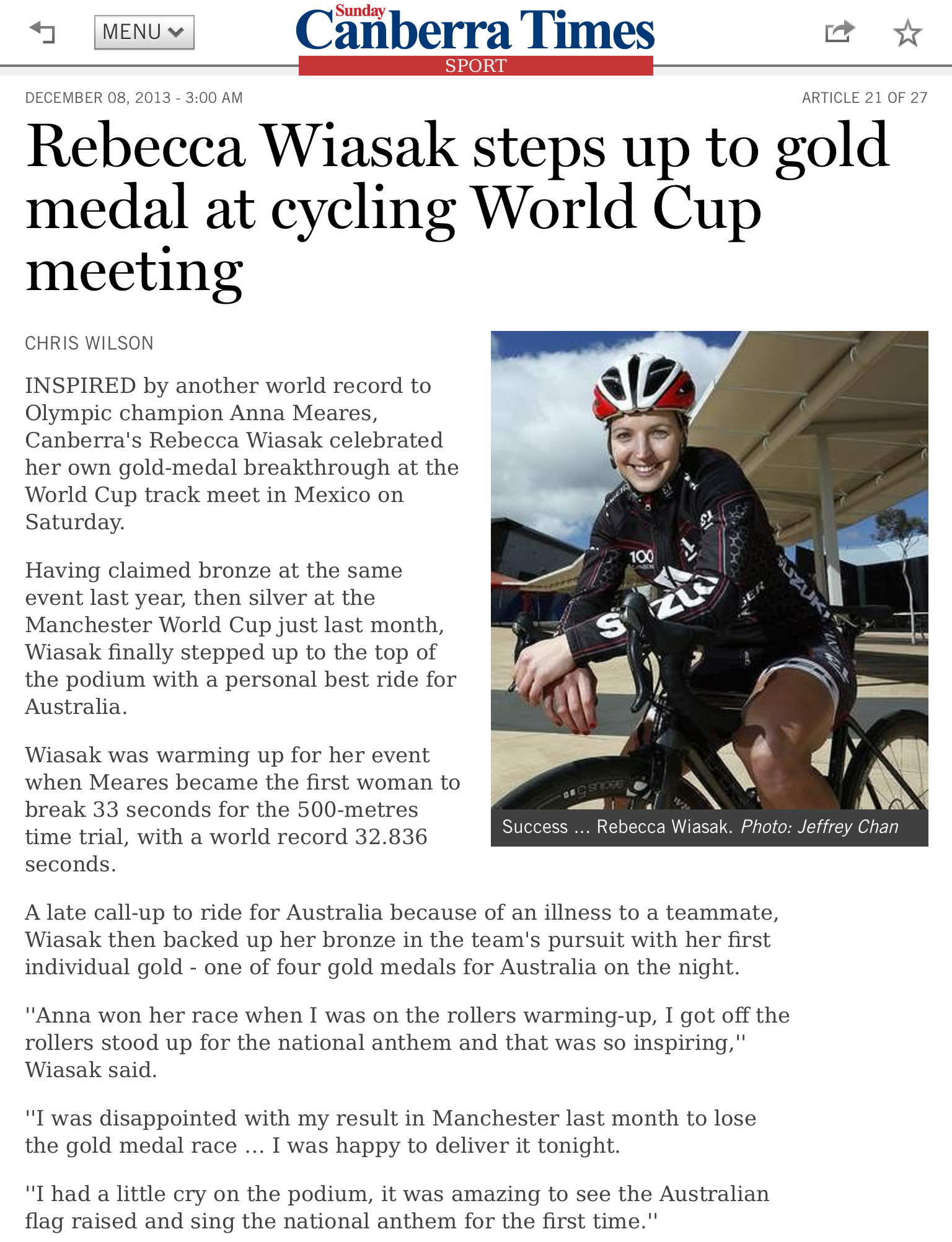The Canberra Times  8 December 2013