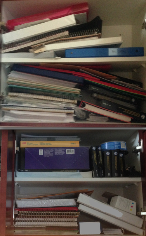 Before and after office cabinet. Most old binders gone and now all paper products fit in one space. I'll probably tackle it again in the not-too-distant future, but it's so much better already.