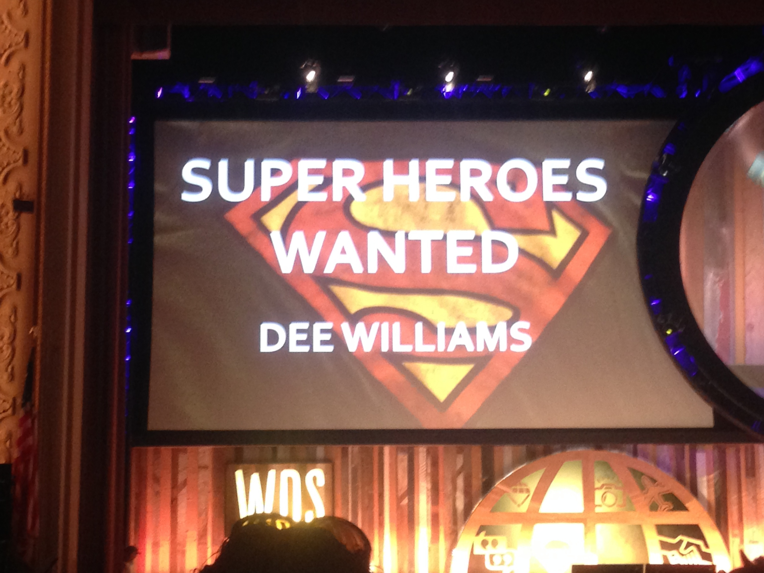 Dee asked us all to imagine ourselves as super heros to make our lives and those of others just a little bit better. The talk giveaway? We each received our own personal invisible cape. Mine fits perfectly.