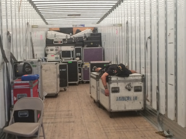 mid-day nap time for someone in the Warheads stage semi truck. #roadiefriday