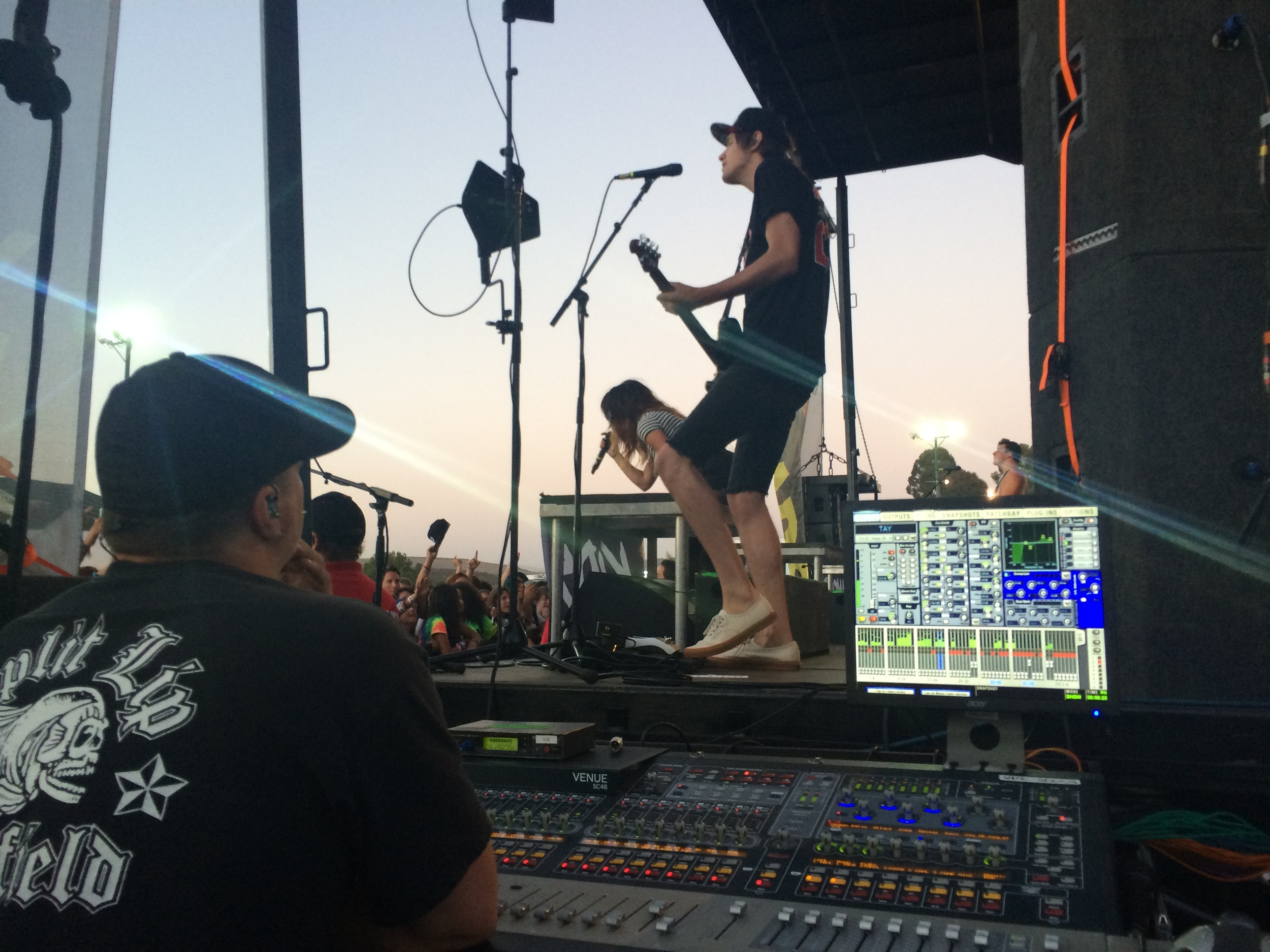 me in Monitor-world with Travis during We Are The In Crowd's San Diego set.