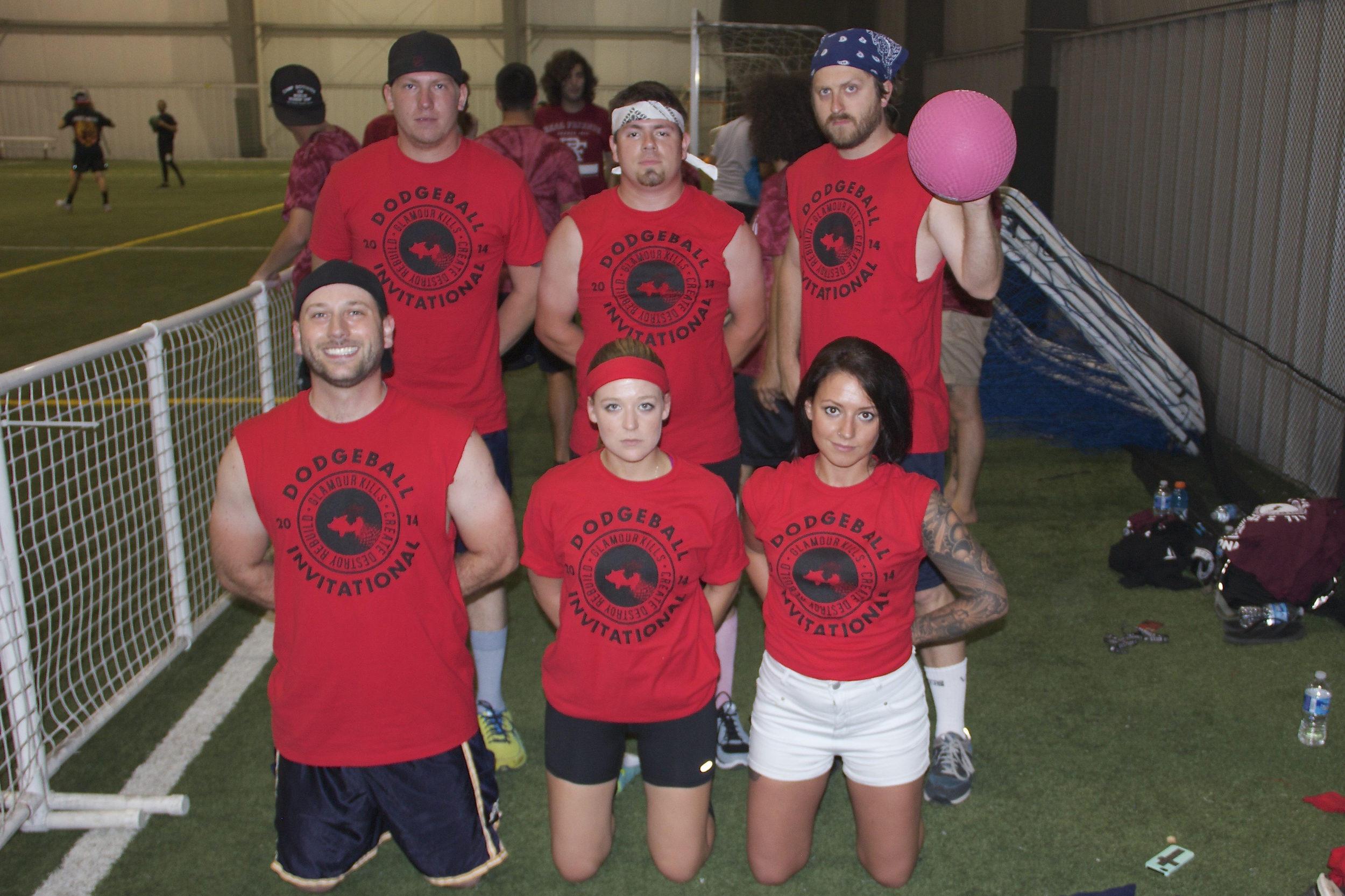 The official 2014 I Fight Dragons Dodgeball team. (rom top to bottom, left to right: Chad (drums), Tony (TM), Packy (guitar), Brian (vocals), me, Ashlee(Chad's GF))