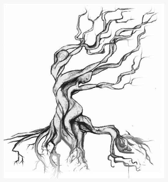 A Dancing Tree Back Tattoo... Not the first tattoo design I have created for someone, but one of my favorites. She wanted it to represent her dancing career and a rooted tree. The square blocked out among the roots was to keep open for her other tattoo on her lower back. You can see two dancers hidden in the tree.