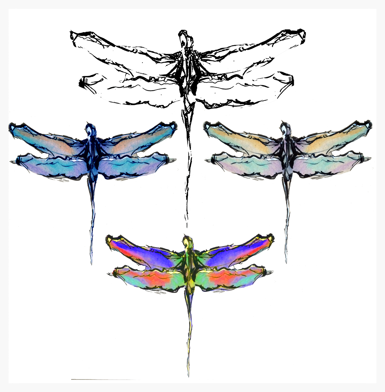 Watercolor Dragonfly for my mom. Right; Orginal, Bottom; Heavy Saturation, Left; Blue, Above; Outline