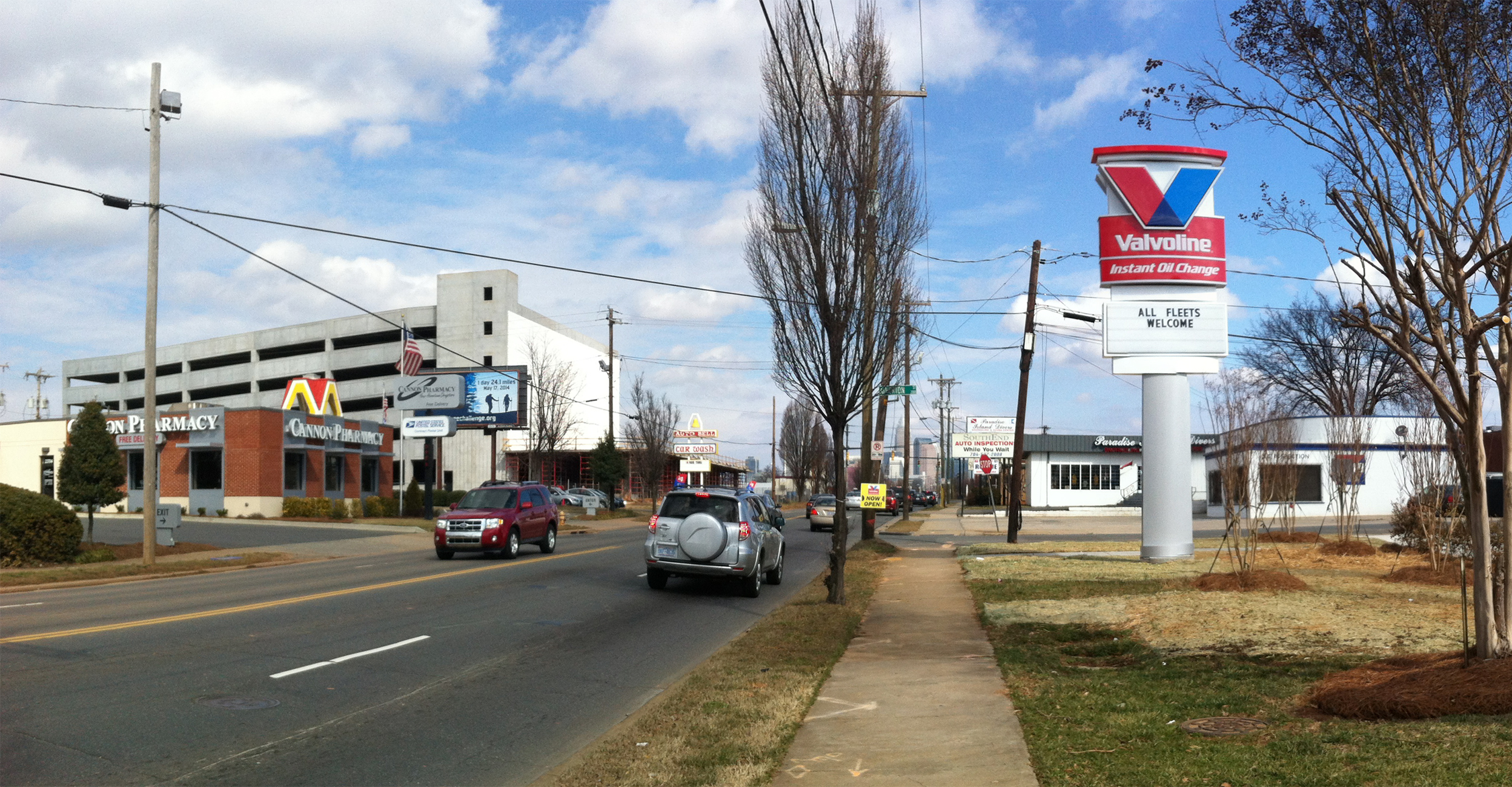 Before:  South Boulevard near Atherton Street and home to a brand new Valvoline