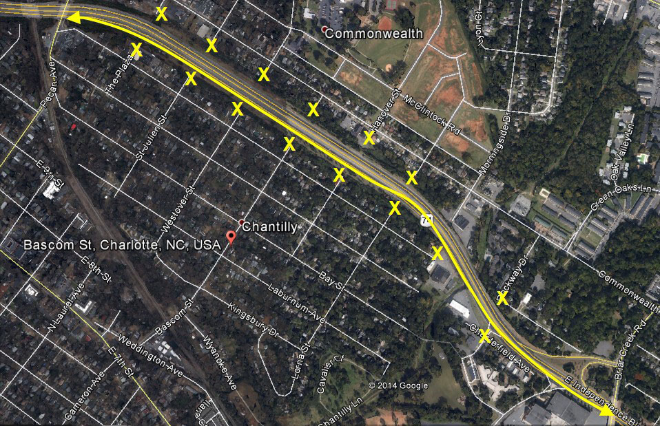 Before:  no street connectivity across the Independence Blvd between Pecan Ave and Briar Creek Rd (distance of 1.3 miles).