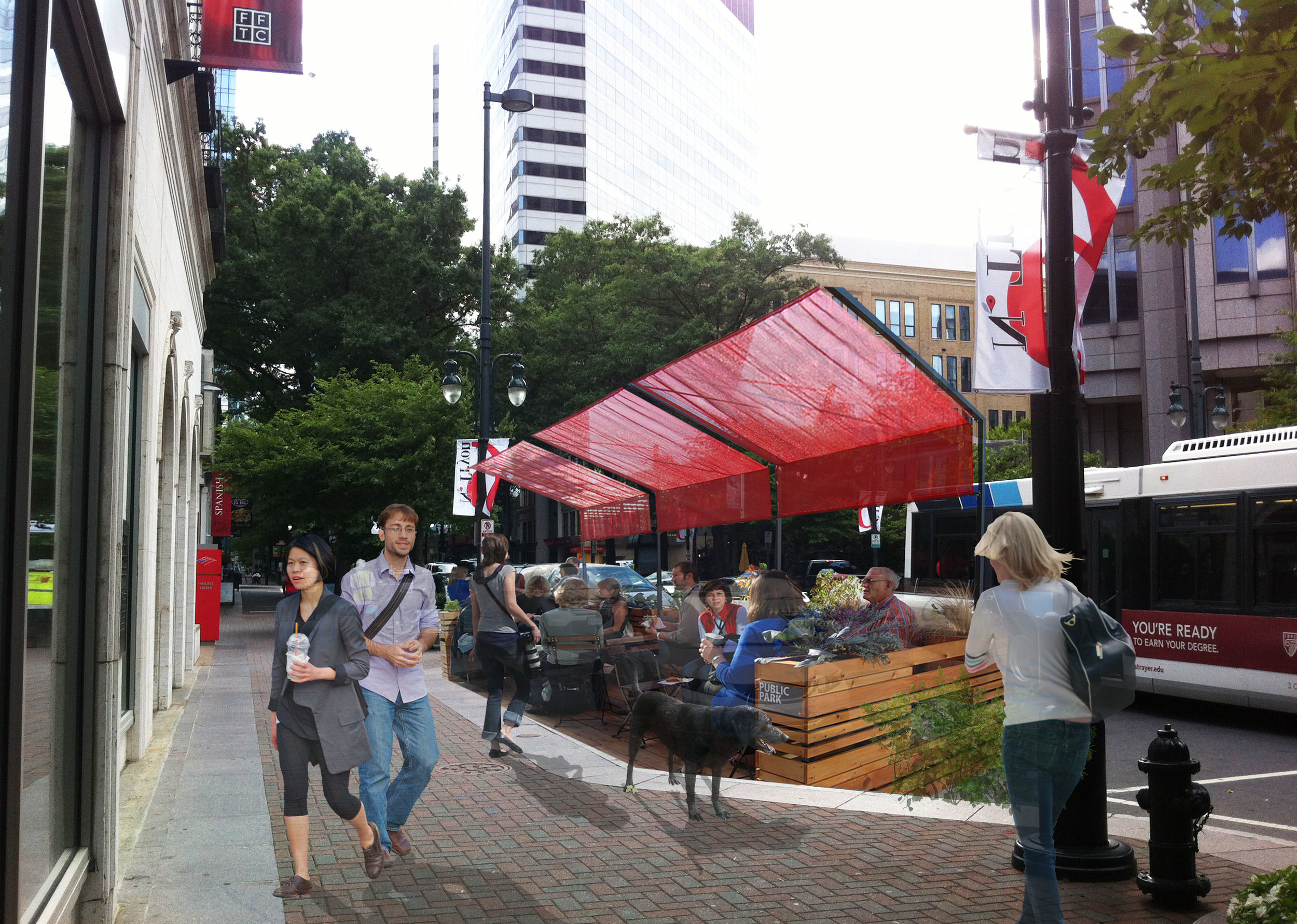 After:   Parklet Option B. This parklet includes an attractive canopy shelter, a low wall and a variety of seating options.