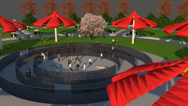 Proposed Park part 1:  The design is a response to all the hardscape surfaces that were abandoned. Improvements start in the vegetation and morph into a place that people stay to enjoy. The inflatable blossom flower sculpture provides shade in a creative way as you sit underneath. In the center of the park, there's a lighting sculpture that makes itself visible and reveals written historical moments embedded in steel material.