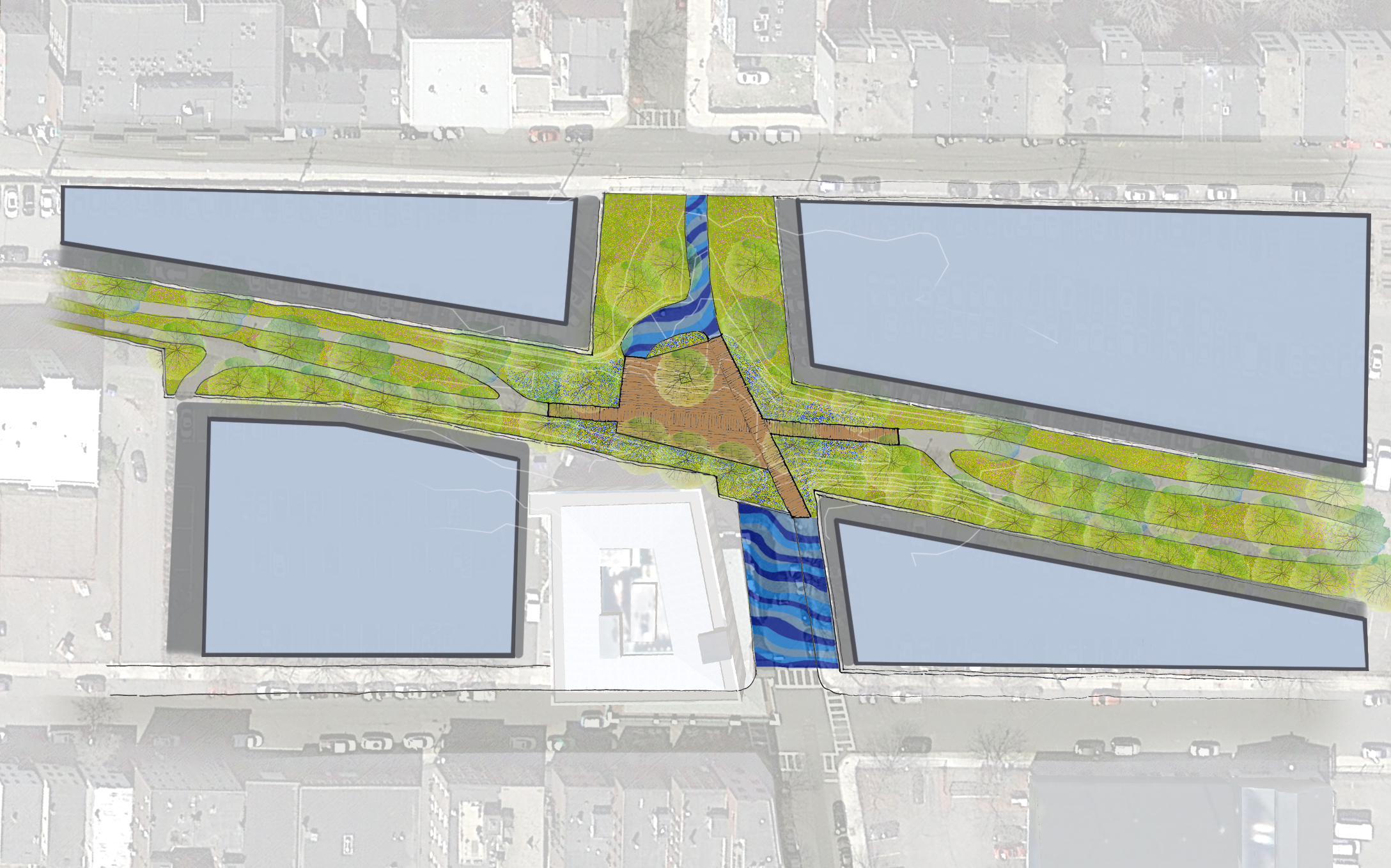 The Long Term Adaptable Plan expands the bridge into a platform for markets, concerts, outdoor classroom space and flexible gathering space. This plan anticipates new buildings on the existing parking lots (shown in blue/grey).