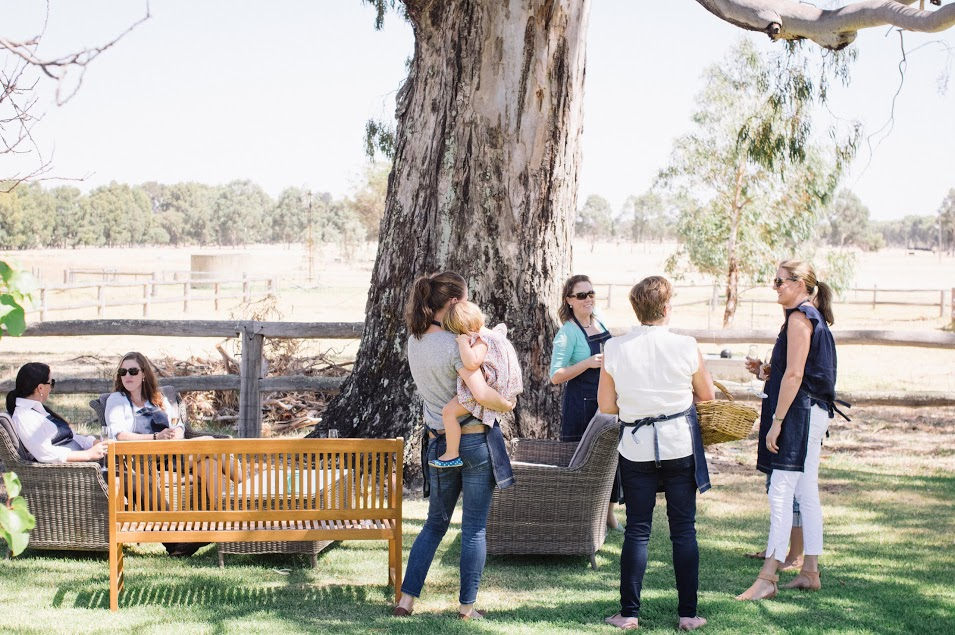 Under the big gumtree - glasses of bubbles in the shade overlooking the farm