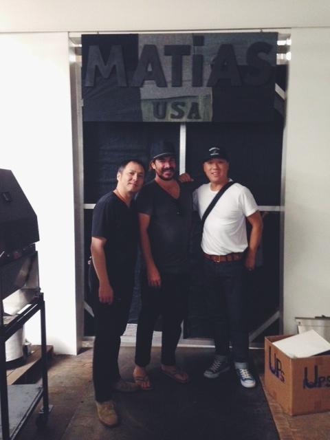 Howard, Matias, and Steve in front of Matias Denim Studio.