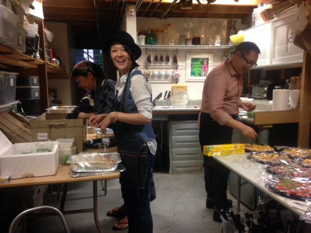 Our lovely friends who helped prep and serve all the food from Perbacco.