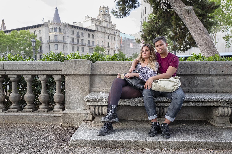 Lara and Rashid at Plaça de Catalunya. Barcelona, Spain. June 2016.