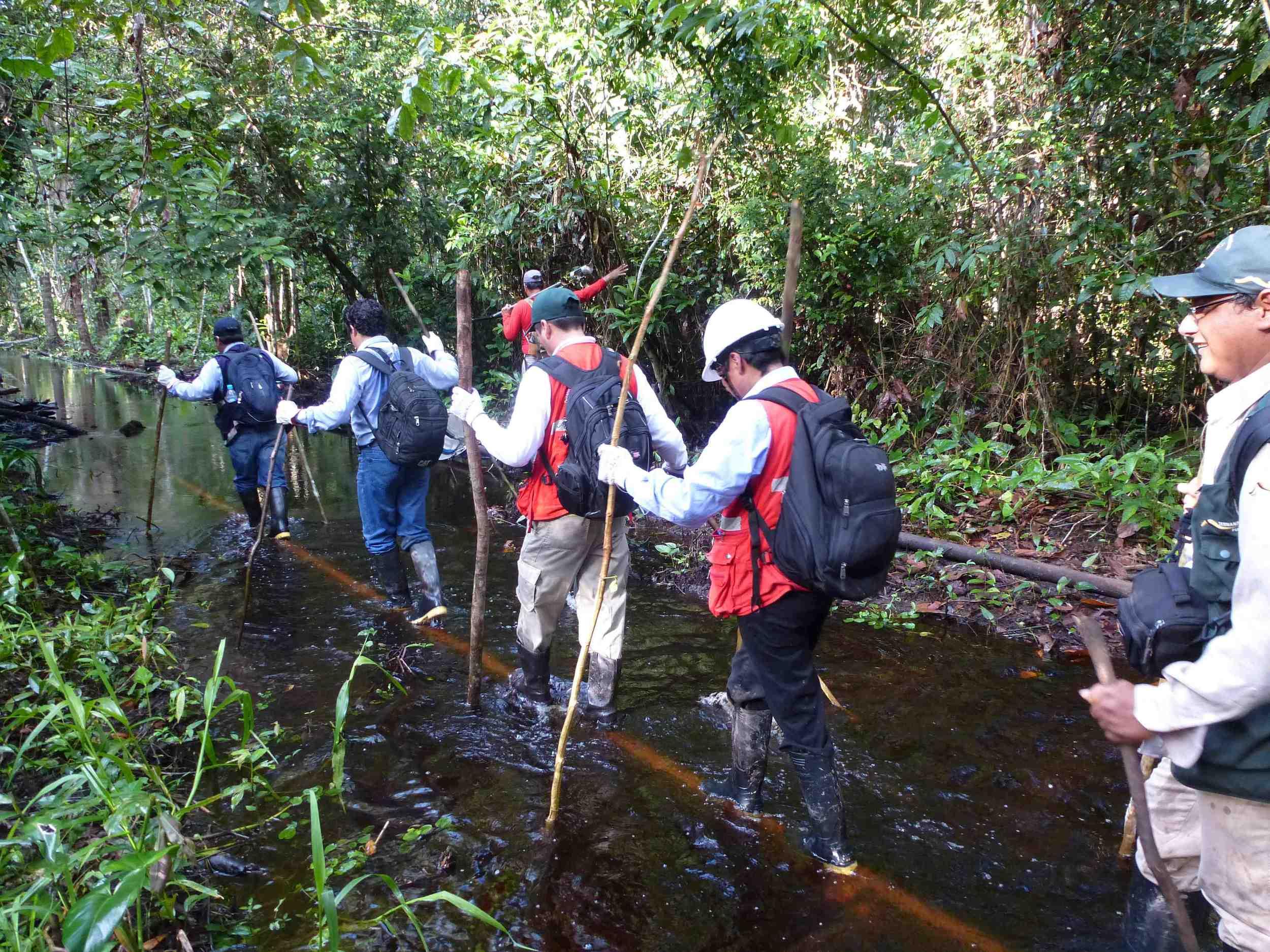Crossing through the wetlands in Pacaya