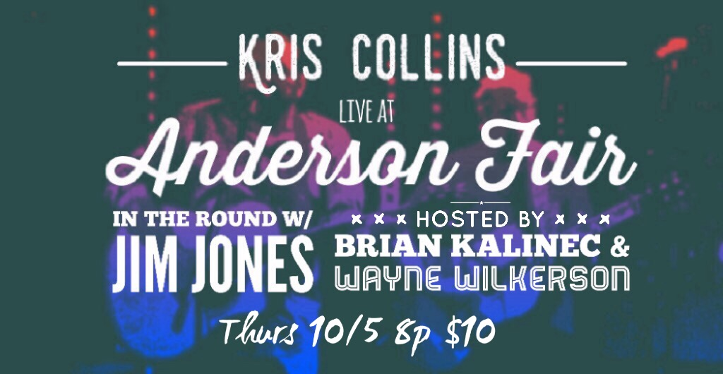 I'm honored to be playing the legendary Anderson Fair for the 3rd time this Thursday night! I will be a part of the Songwriters in the Round series hosted this week by Brian Kalinec and Wayne Wilkerson. The other featured artist is Jim Jones! The doors open at 730 and tickets can purchased at the door for $10. Come enjoy an evening of the some of the best Houston has to offer. See you there!    -KC