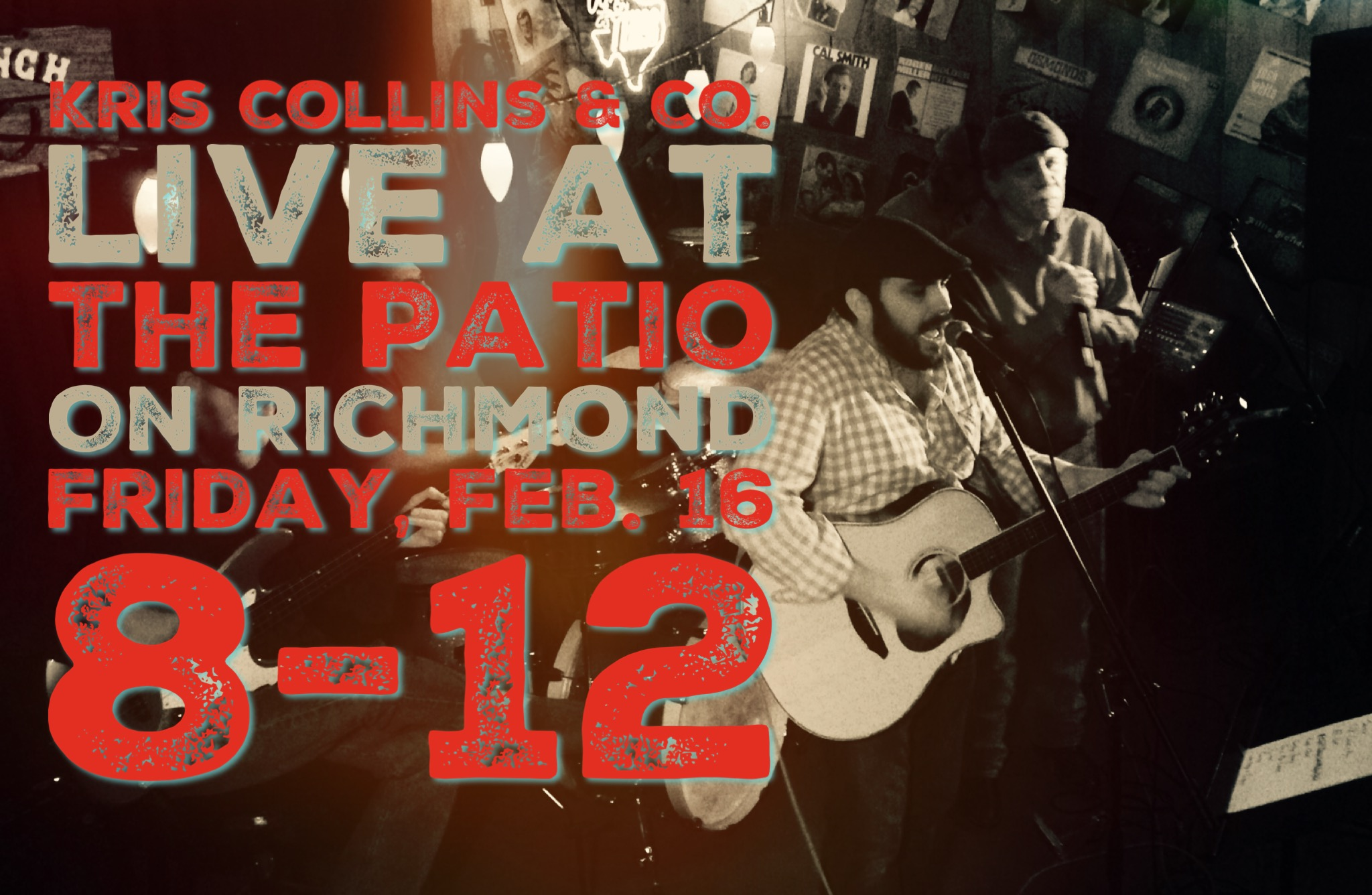 We're glad to be back at the Patio on Richmond this Friday night! We'll start around 8. Hope to see you there!