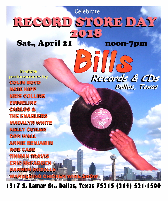 It's an honor to be playing at the one and only Bill's Records in Dallas - and on Record Store Day, no less! I had the good fortune to play Bill's years ago and I'm proud to be coming back. Come on out and pick up a copy of Whiskey & Cigars while your at it. C'mon, Dallas, help us out! We play at 1:00pm.