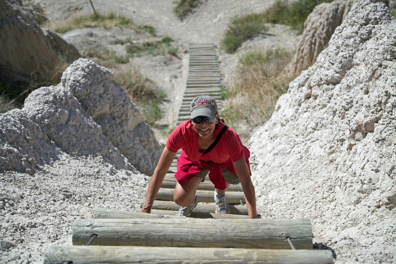 Terry trekking the Badlands...park visit  #35 .