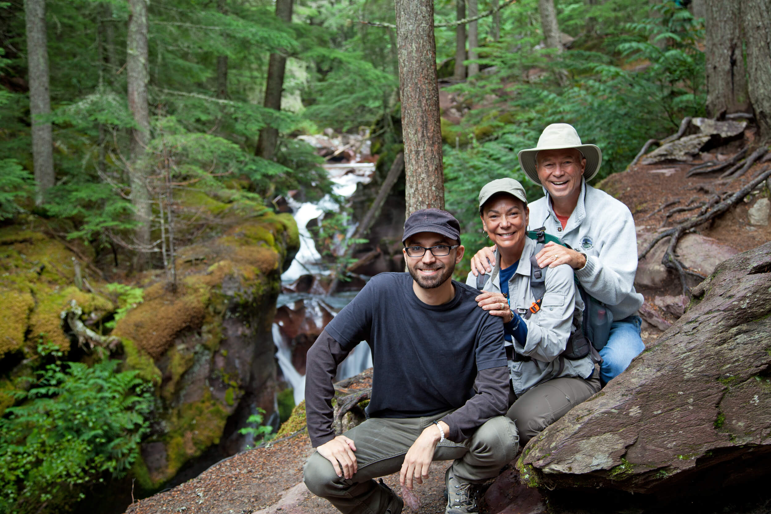 Charlie, Terry and John at Avalanche Creek. Park visit  #37 .