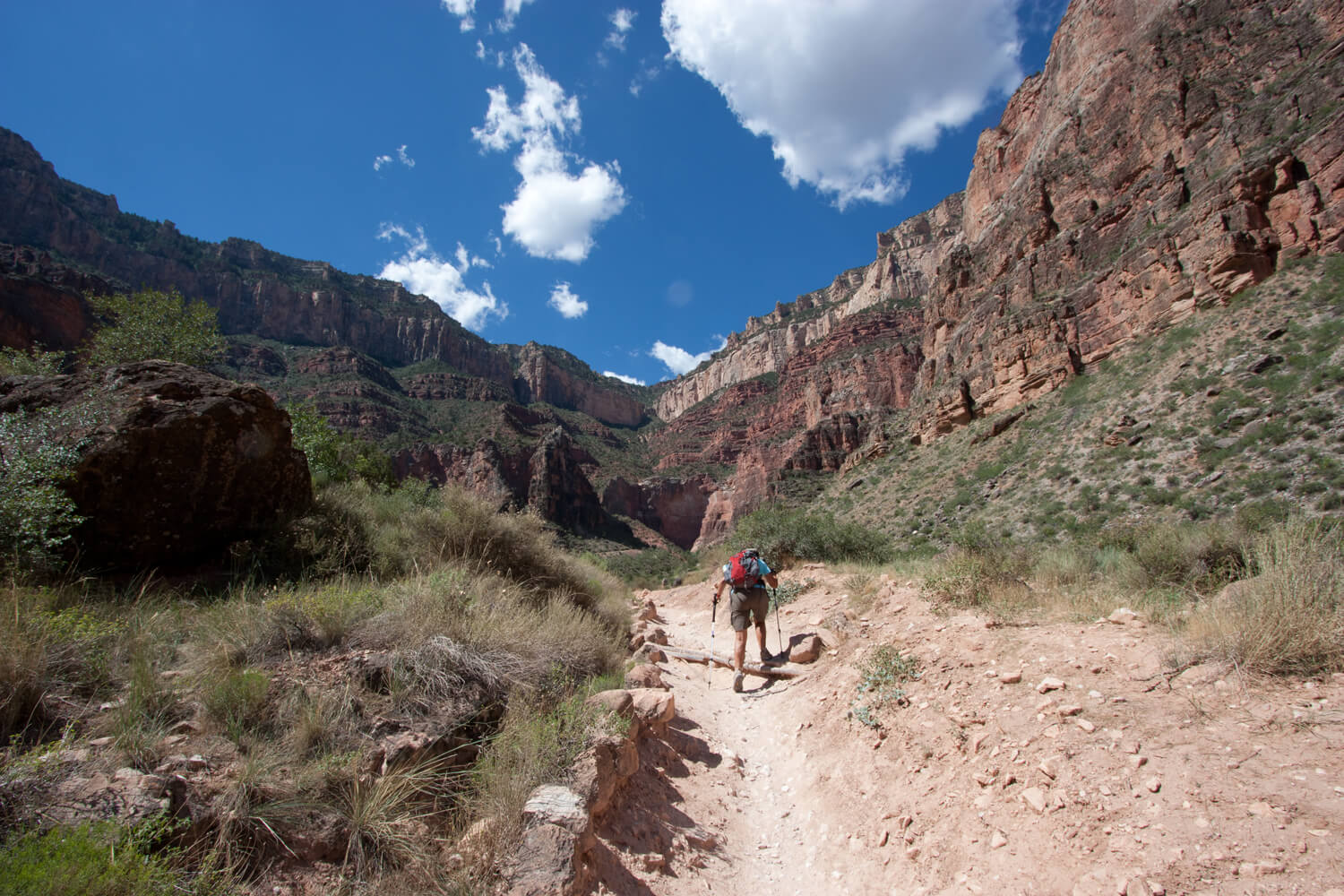 Terry hiking up the Bright Angel Trail just outside Indian Garden completing our rim-to-rim trek.