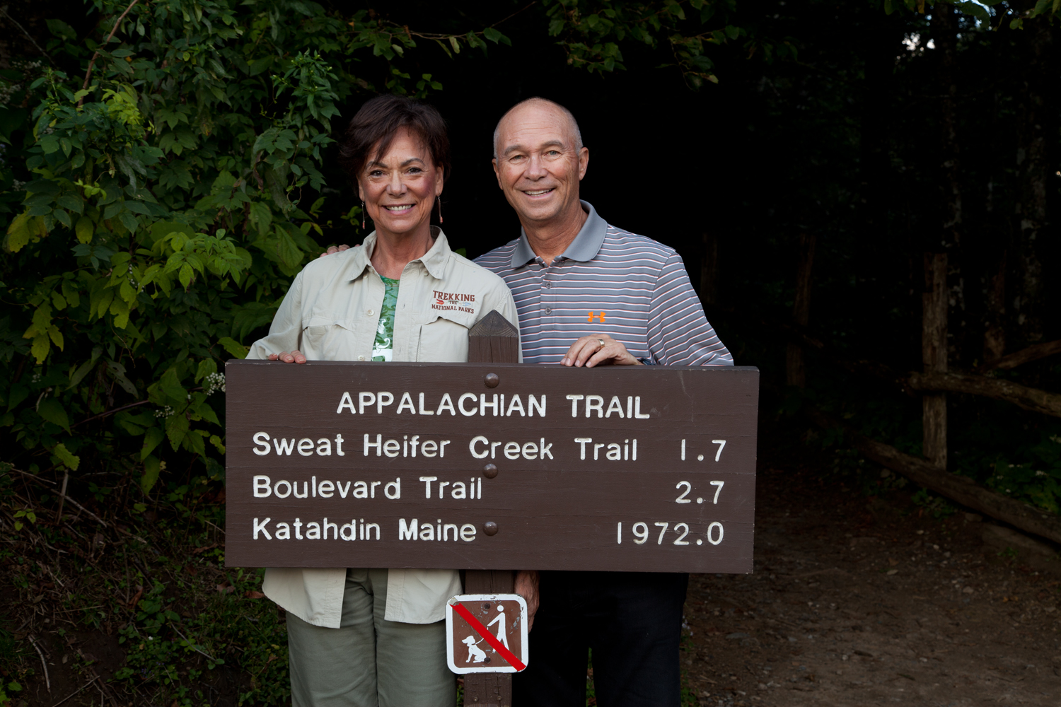 Trekking a portion of the Appalachian Trail during our visit to park  #45 .