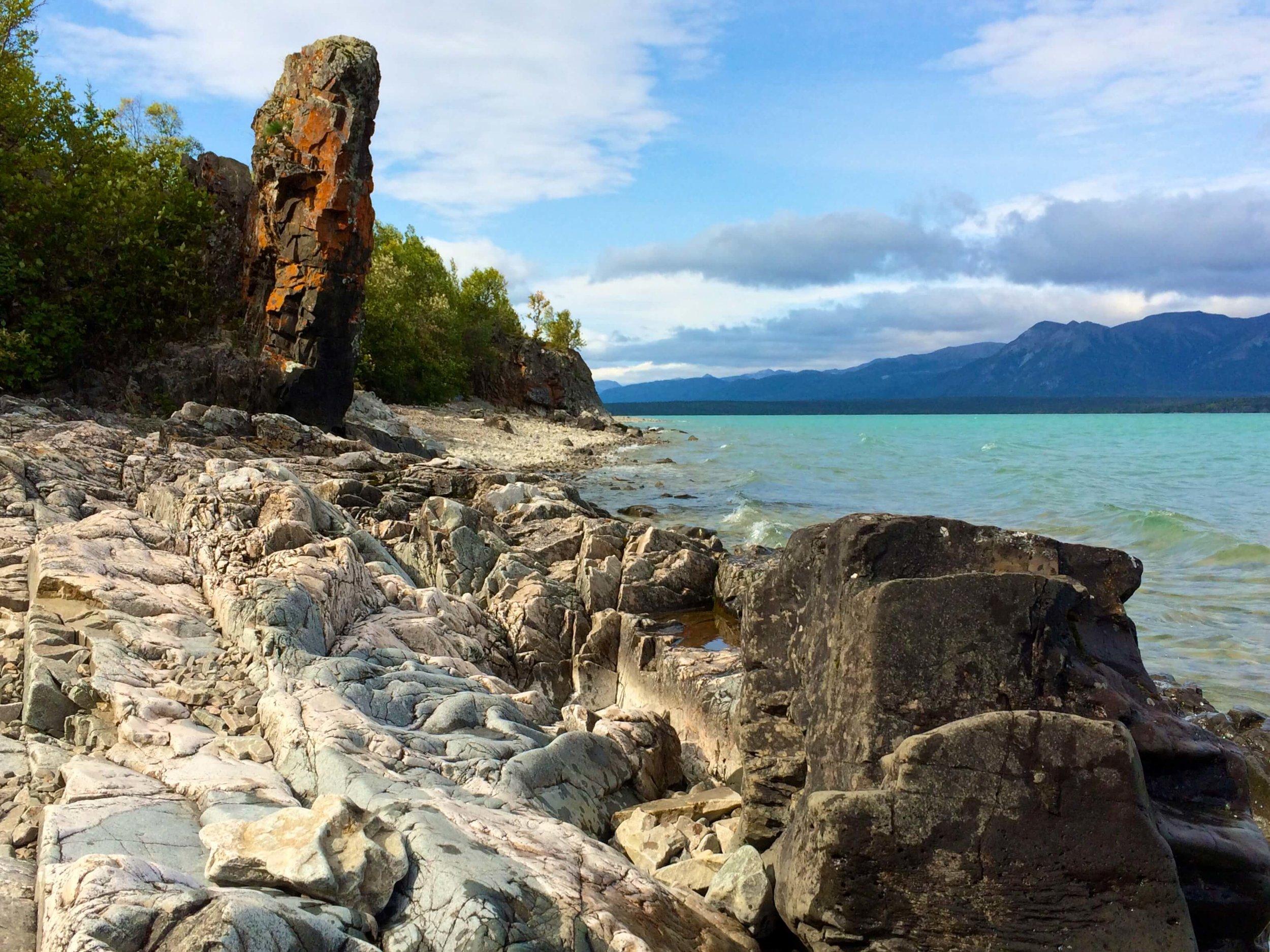Rugged coastline of Lake Clark