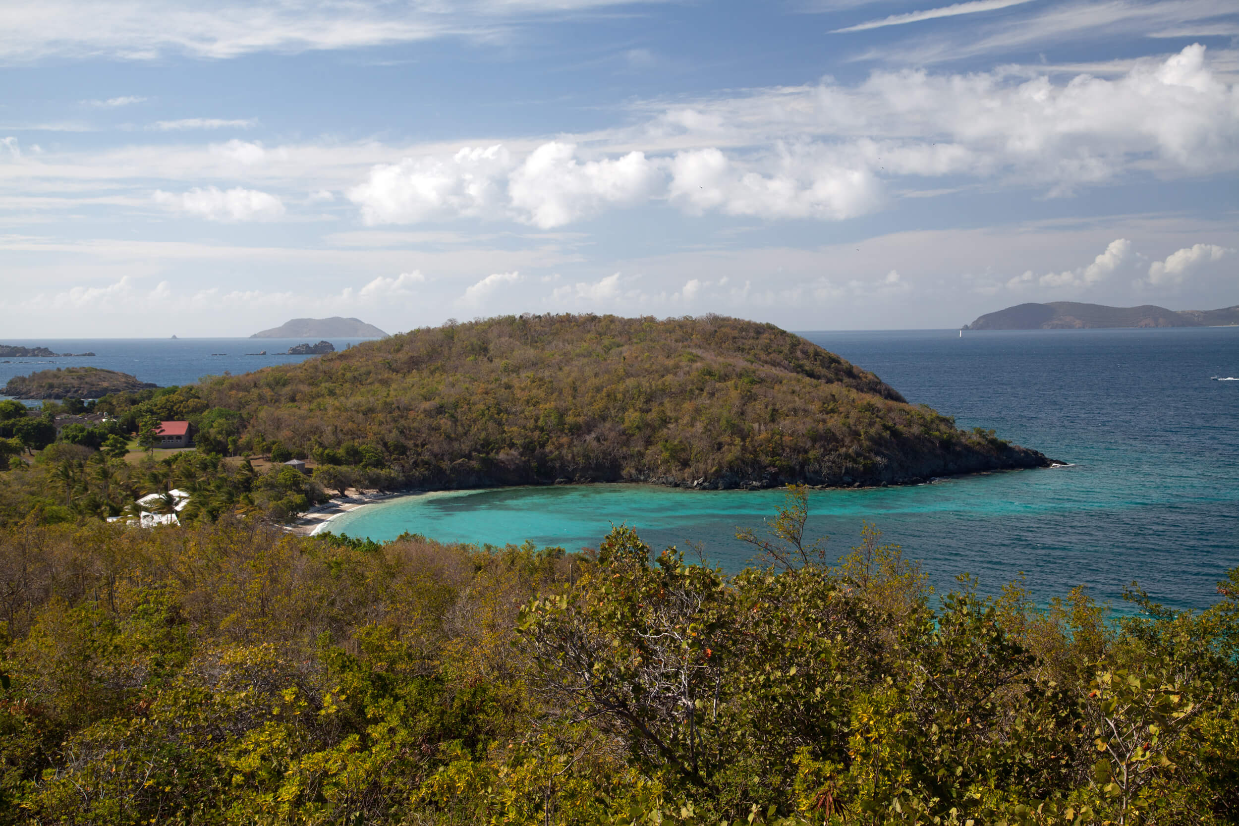 Hawksnest Bay with BVI in the background