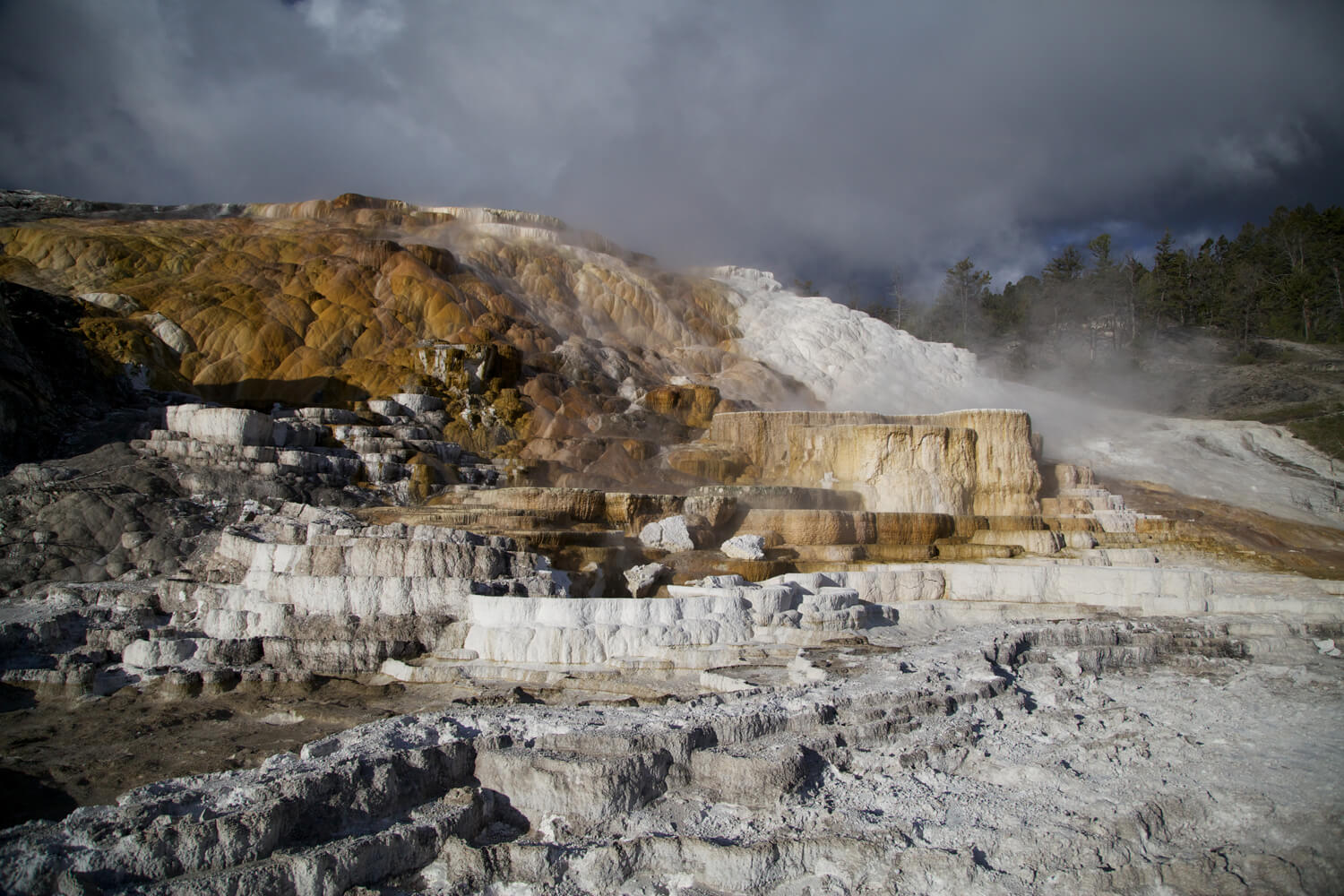Formations at  Mammoth Hot Springs  in the northwestern reaches of the park.