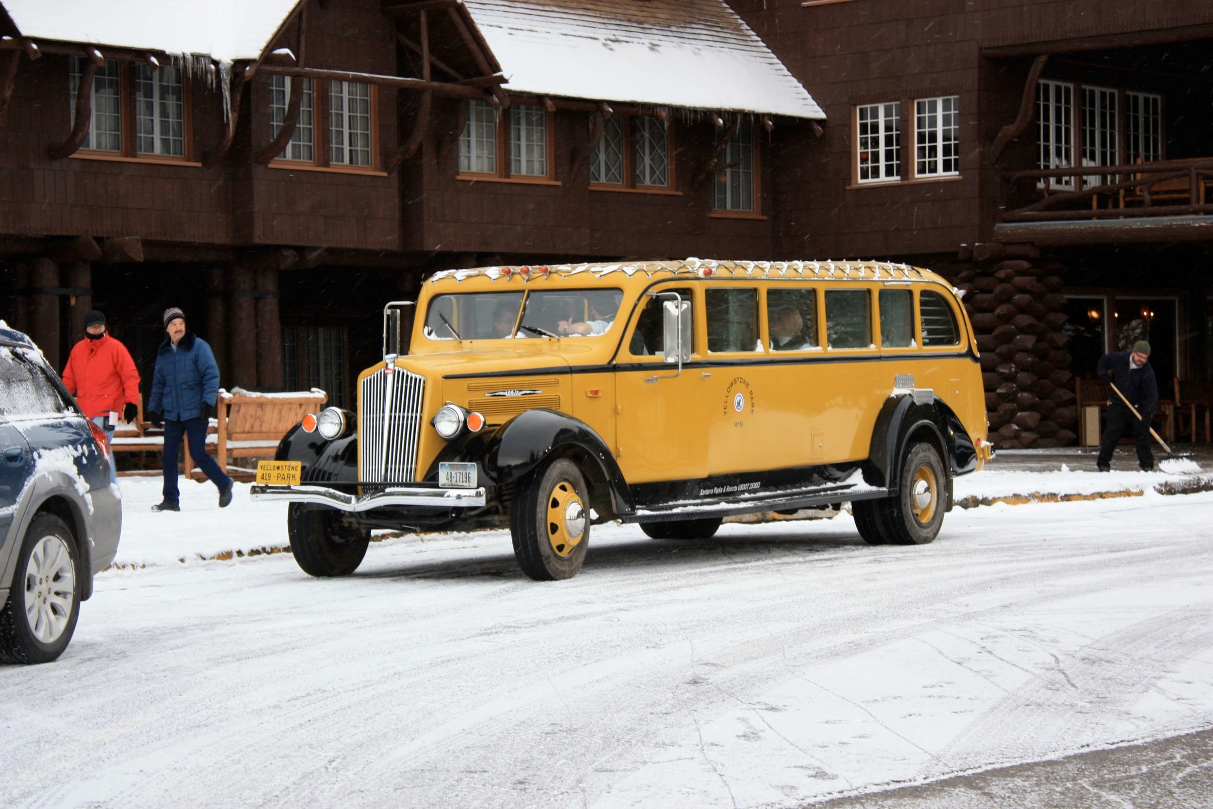 One of Yellowstone's historic Jammers transporting guests around the park.