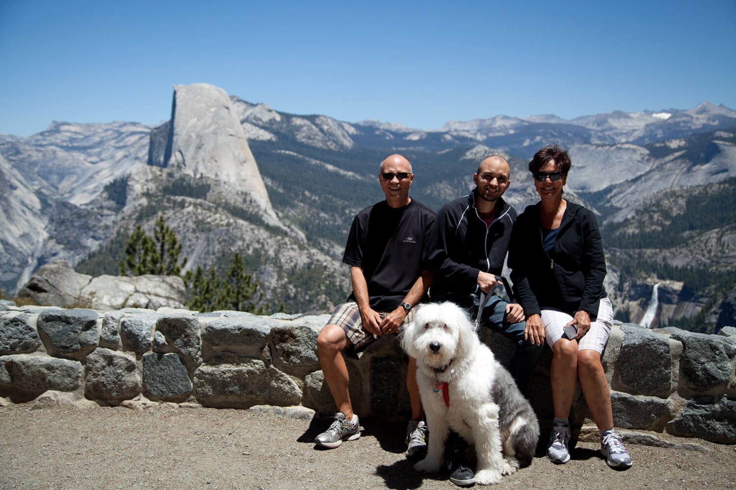 Glacier Point with Charlie, CharlieDog, Terry, Half Dome, Nevada Falls and me! Our  16th  park visit.