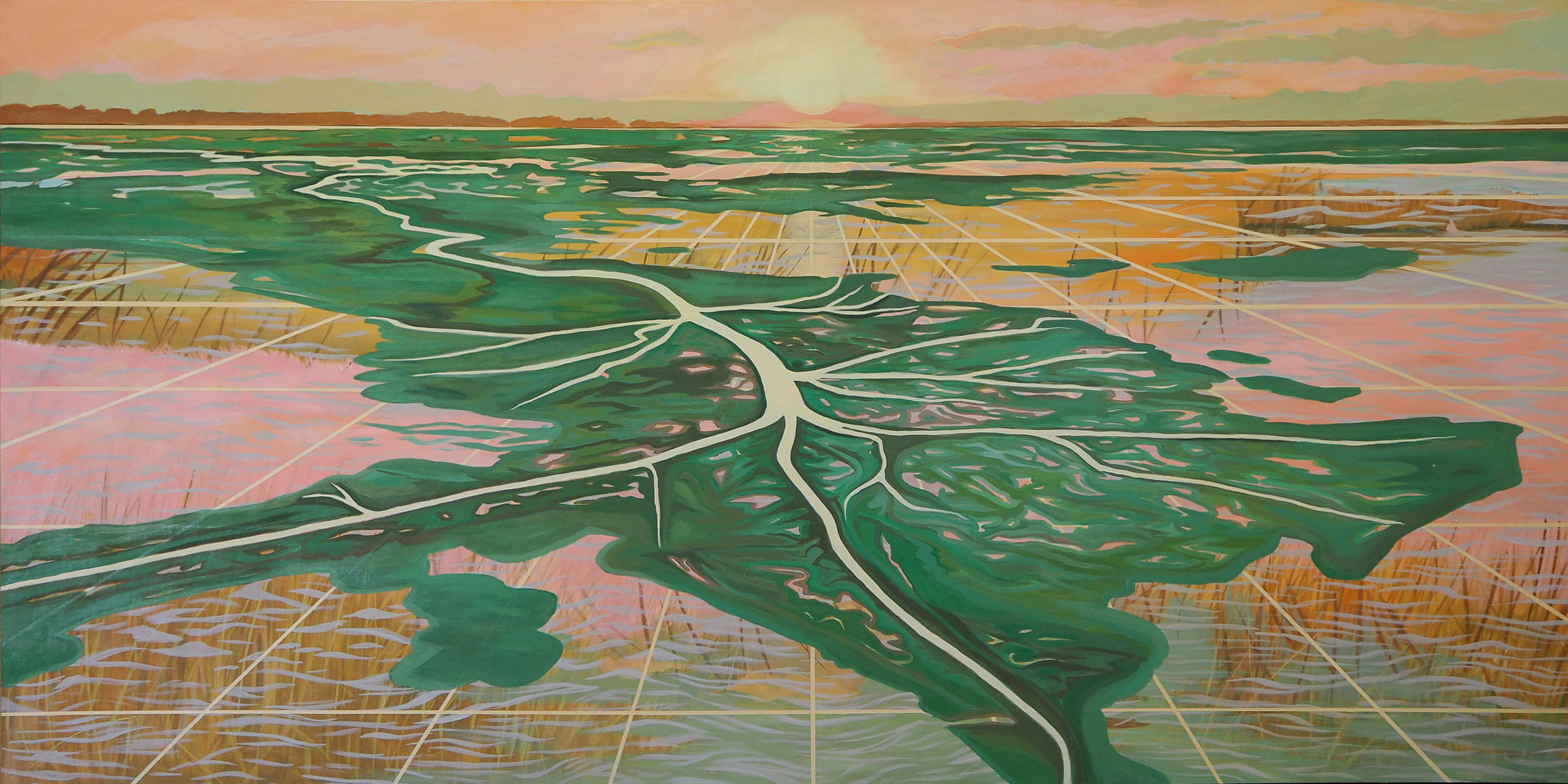"Downstream , 48"" x 96"", acrylic on canvas, 2019 painted for the 24th Annual Tulane Environmental Law & Policy Summit  Since the Flood of 1927, the Mississippi river has been engineered and controlled, no longer depositing the large levels of rich sediment that feed the land over time. This modification along with the dire effects of industry has led our region to have one of the fastest eroding coastlines on Earth with more than an acre of land being lost every hour, about 25 to 35 square miles per year. Nearly 2,000 square miles have already vanished in less than a century. This loss of land, not only reduces acres of rich natural habitat for a vast tapestry of species, but also leaves New Orleans and many coastal developments vulnerable to storm surge and damage.  In this piece I take viewers to the coastline, where the waters of the Mississippi river meet the Gulf of Mexico. Like a sprawling lily pad it sits atop a collage of coastal marsh, water and lines. In my work, I collage painted layers of Louisiana ecology and topography to emulate and bring awareness to the natural and artificial processes of change in the region over time. The use of the perspective grids in my work draw the viewer's eye, but also hint at the man-made canals that cut through our fragile wetlands by industry. By collaging together these native elements of Southern Louisiana I celebrate the beauty of living with these natural features and consider how our modifications to natural systems will portend for the region's health in the long run."