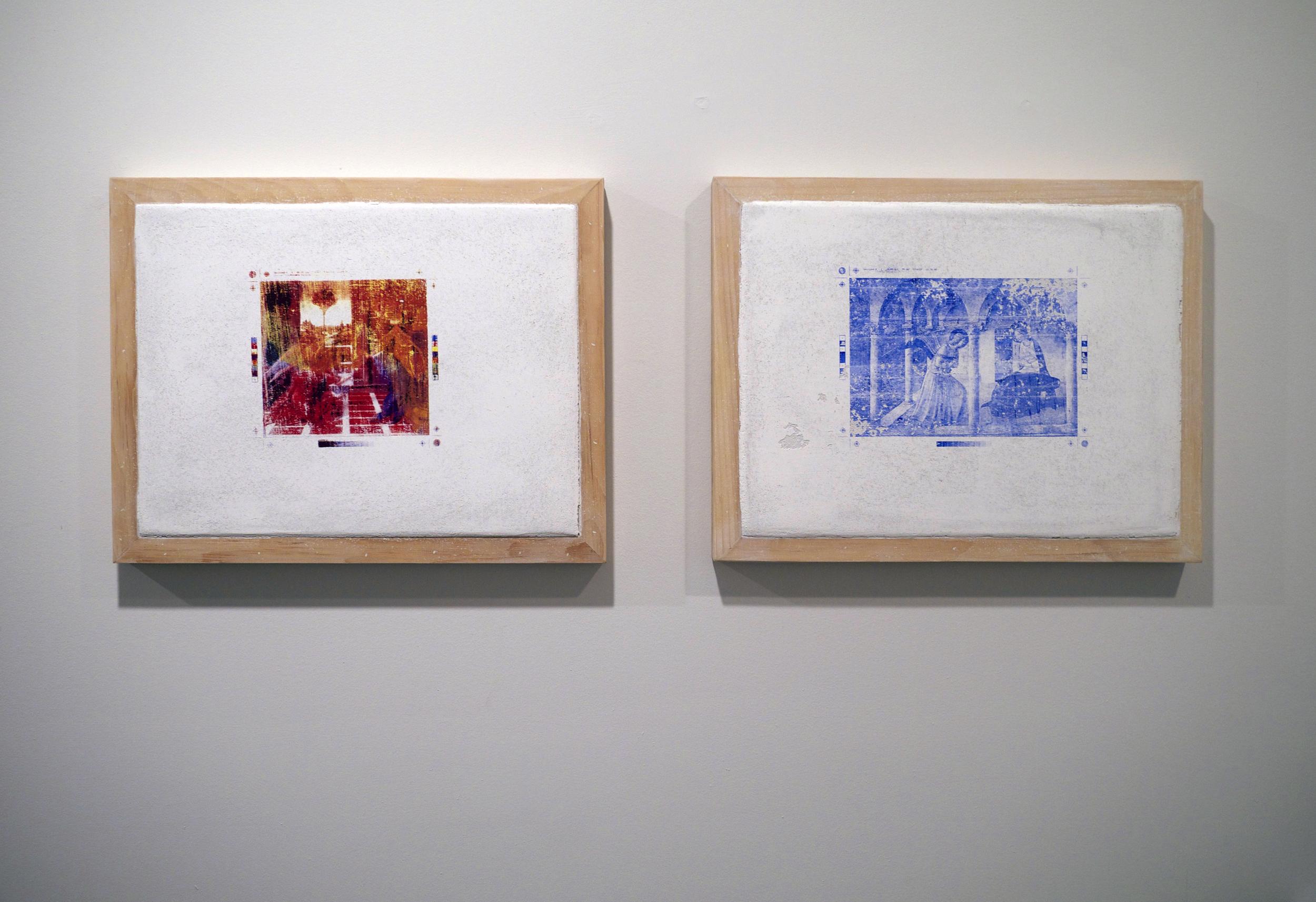 "Christopher Carroll. Left:  Untitled Fresco Panel 1 . Right:  Untitled Fresco Panel 2 . Fresco, raw pigment. 14.5"" x 18.5"". 2013."