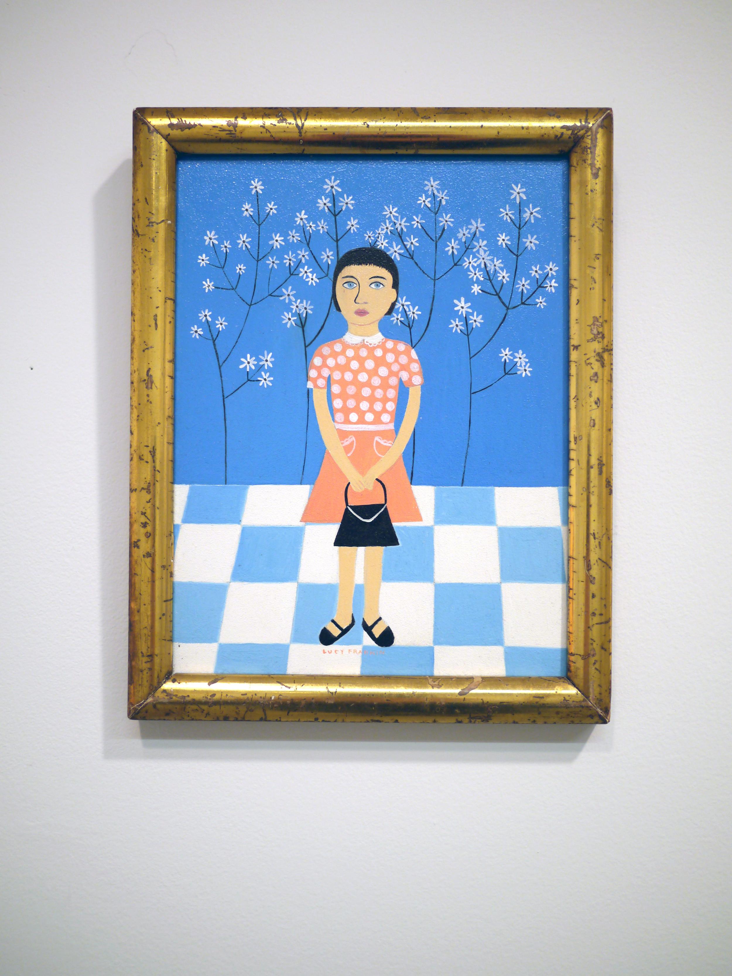 """Lucy Fradkin.  Wallflower . oil on board. 7"""" x 9"""". 2006."""