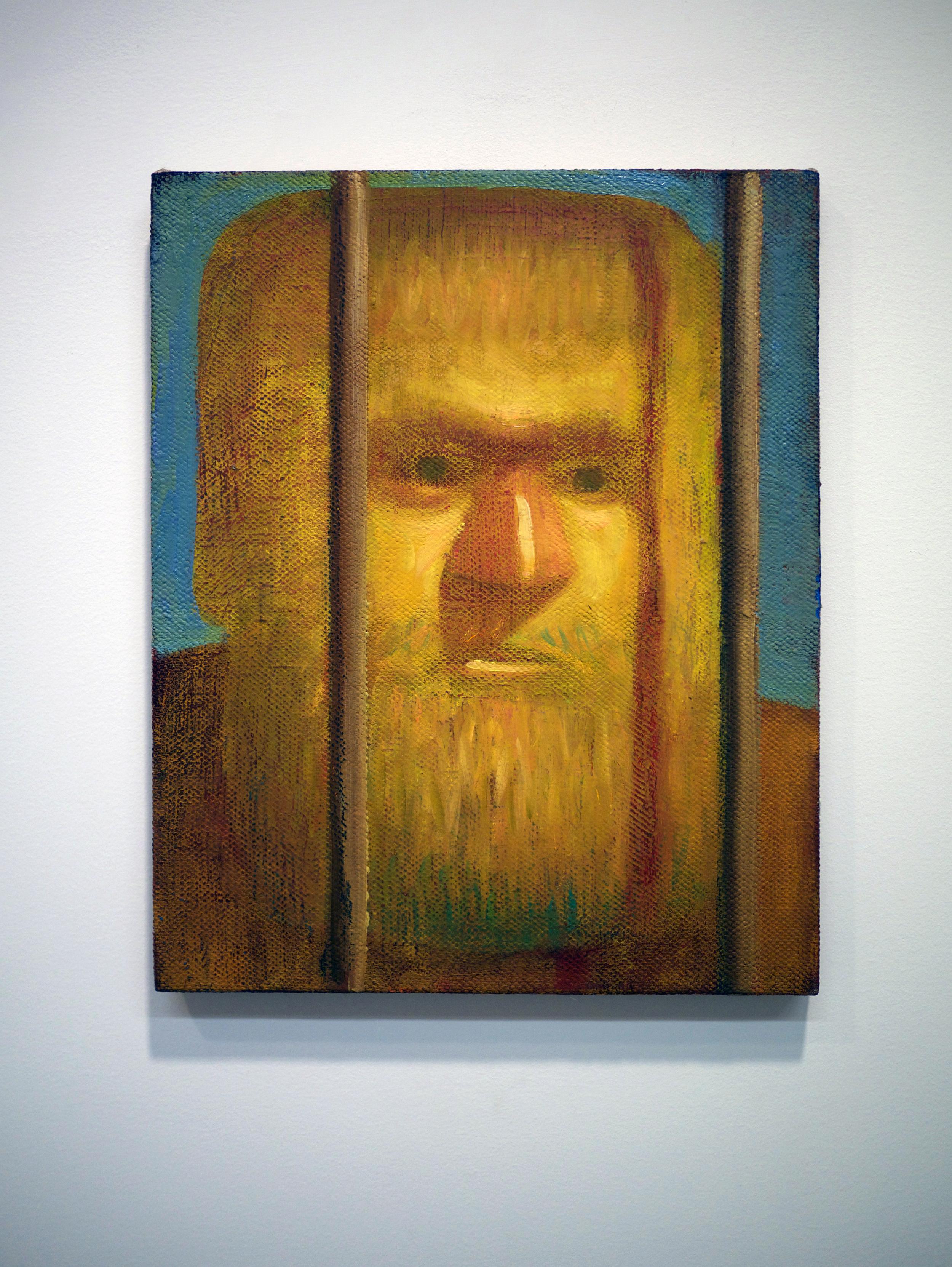 """Nate Meade.  Beard Bars . oil on linen. 12"""" x 15"""". 2013."""