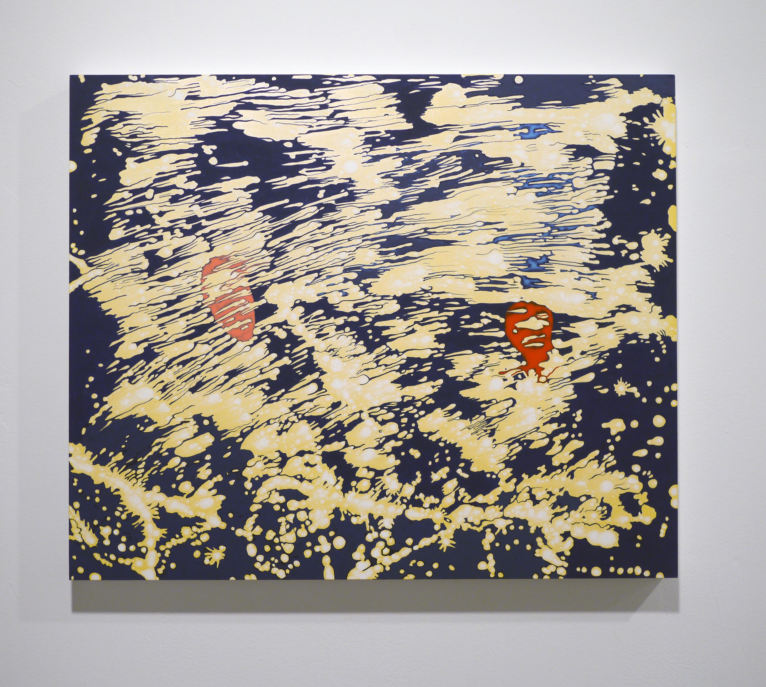 "Barbara Takenaga.  Pink and Red . Acrylic on wood panel. 20"" x 24"". 2012."